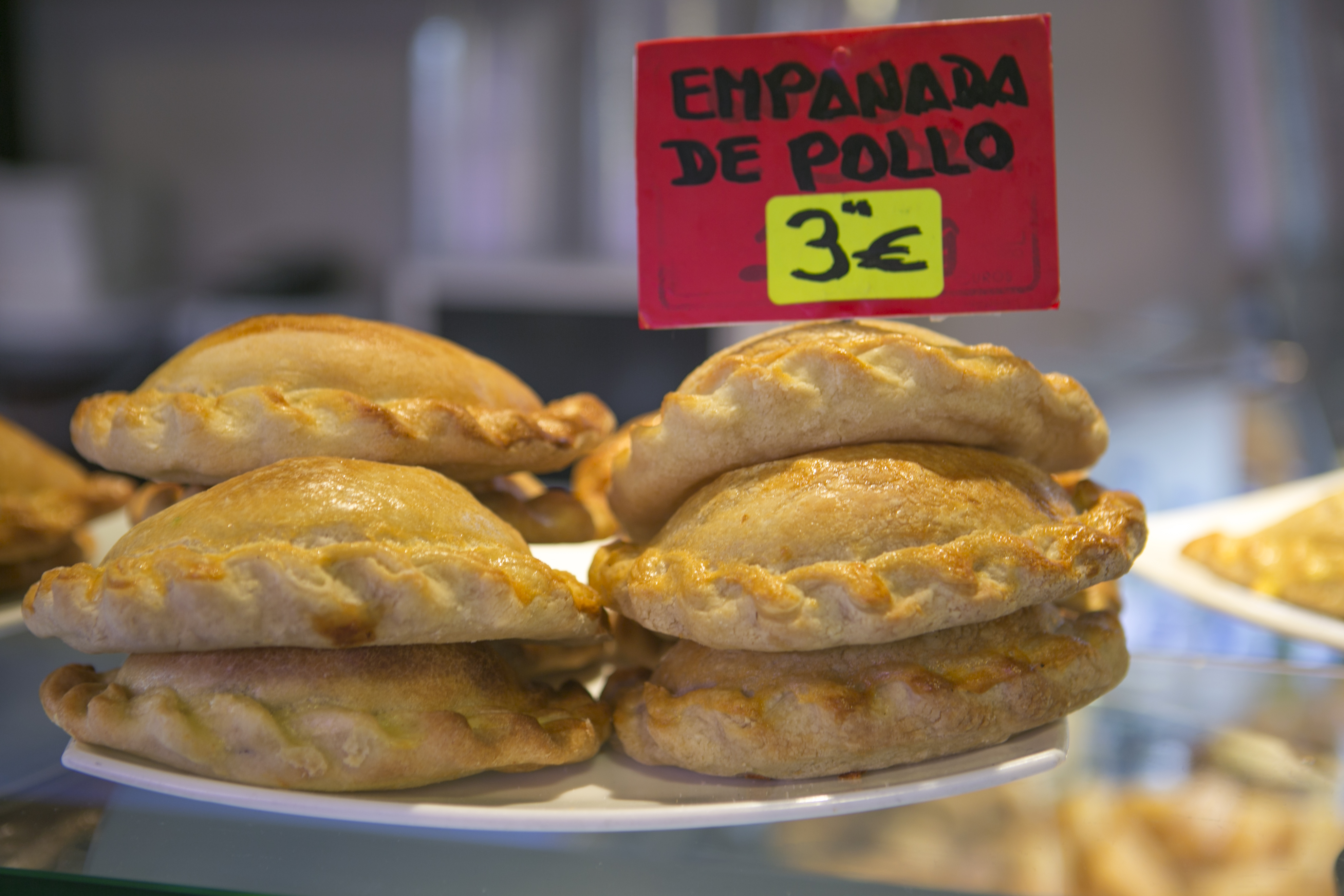 traditional empenada cookie at famous boqueria market of barcelona spain