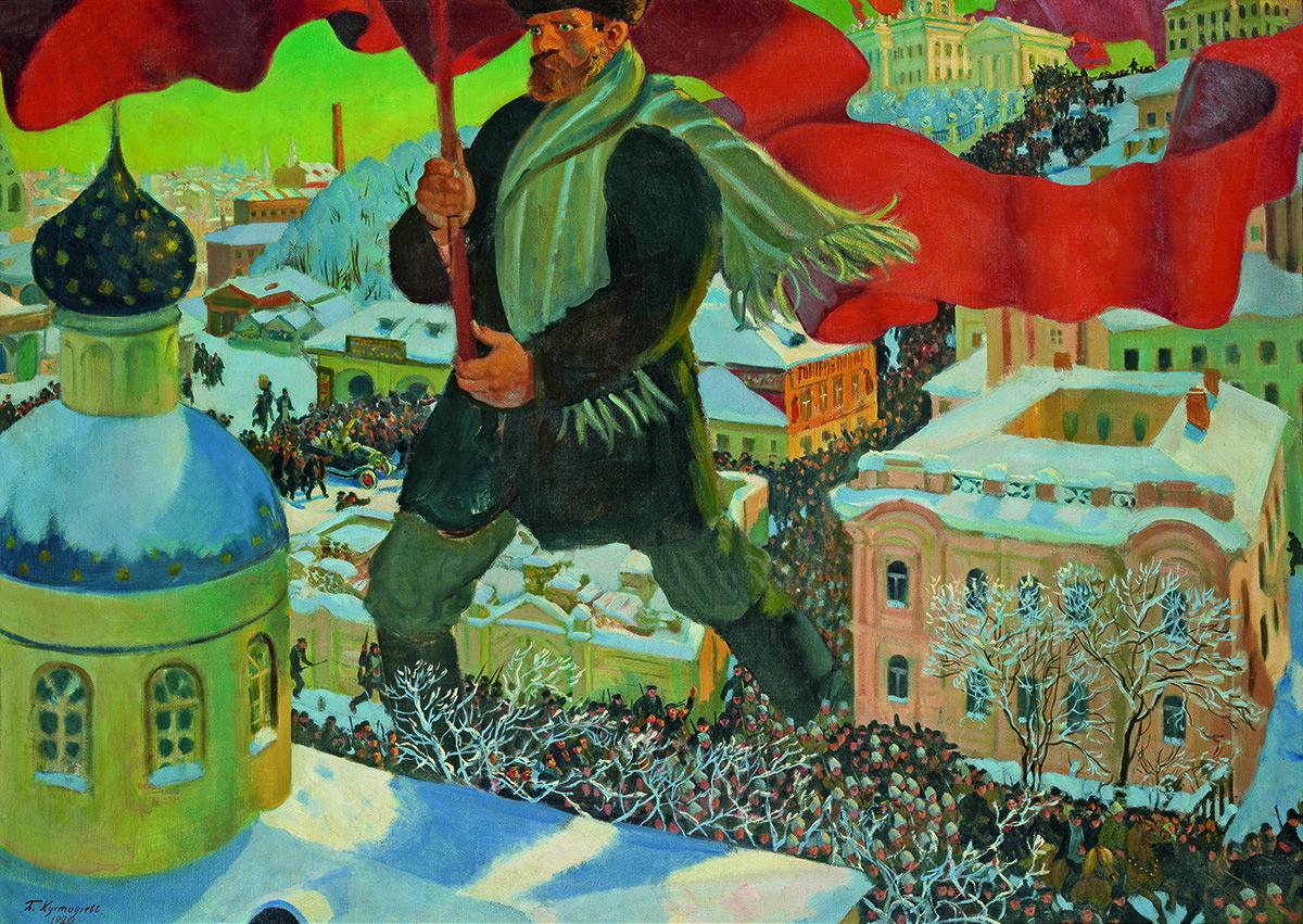 Boris Mihailovič Kustodiev, Boljševik, 1920., djelo se nalazi u Galeriji Tretjakov
