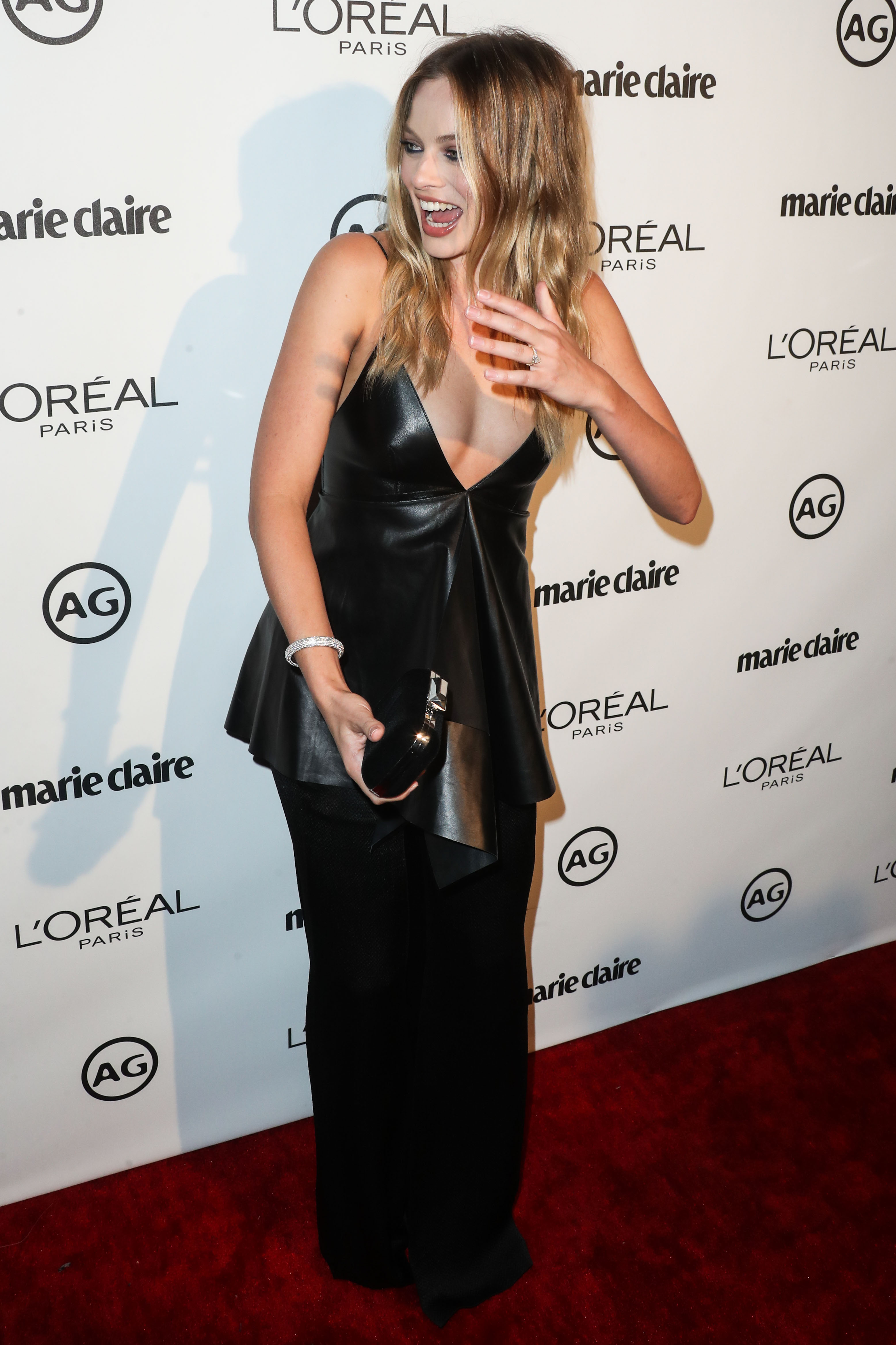 WEST HOLLYWOOD, LOS ANGELES, CA, USA - JANUARY 10: Actress Margot Robbie shows off her wedding ring from Tom Ackerley at Marie Claire's Image Maker Awards 2017 held at Catch LA on January 10, 2017 in West Hollywood, Los Angeles, California, United States. (Photo by Xavier Collin/Image Press Agency/Splash News) <P> Pictured: Margot Robbie <B>Ref: SPL1420296  100117  </B><BR/> Picture by: Xavier Collin/IPA/Splash News<BR/> </P><P> <B>Splash News and Pictures</B><BR/> Los Angeles:310-821-2666<BR/> New York:212-619-2666<BR/> London:870-934-2666<BR/> <span id=