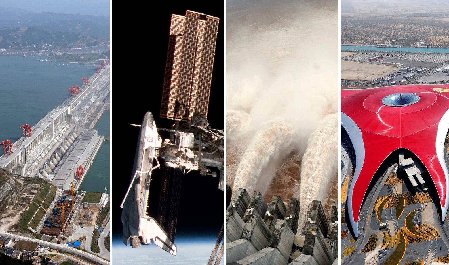 S lijeva na desno: Hidroelektrana Tri klanca iz zraka / Međunarodna svemirska postaja / hidroelektrana Tri klanca / Ferrari World