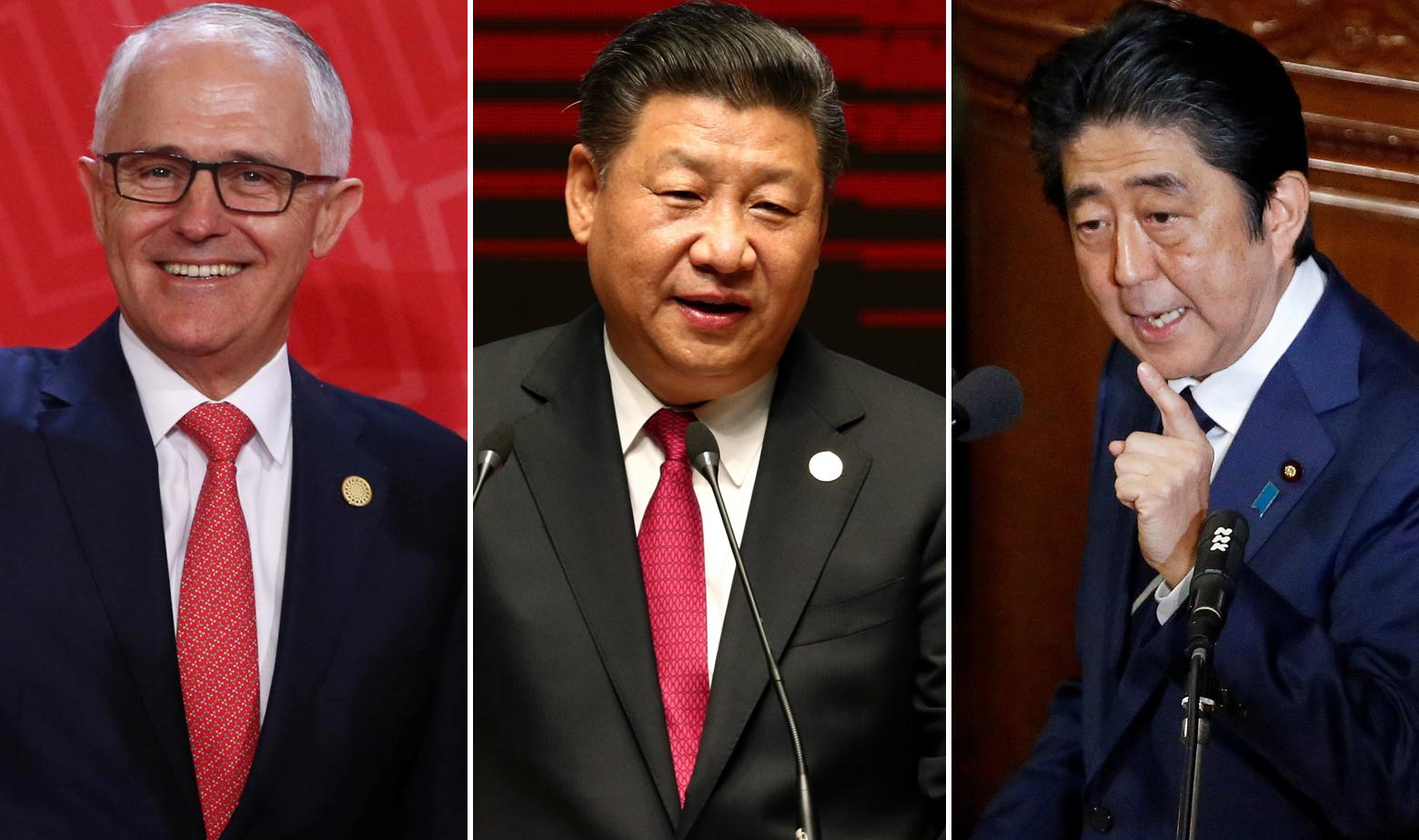 Malcom Turnbull, Xi Jinping i Shinzo Abe