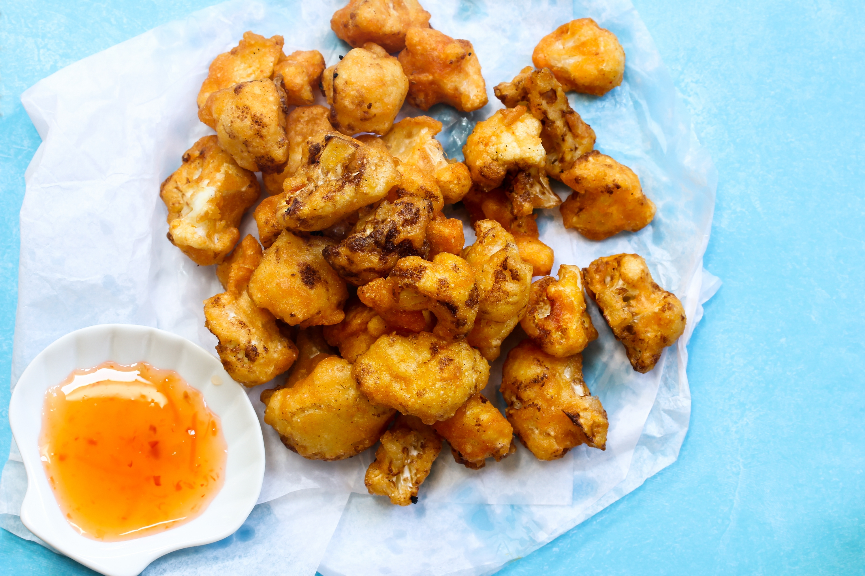Cauliflower Fritters /  Deep fried cauliflower florets, selective focus