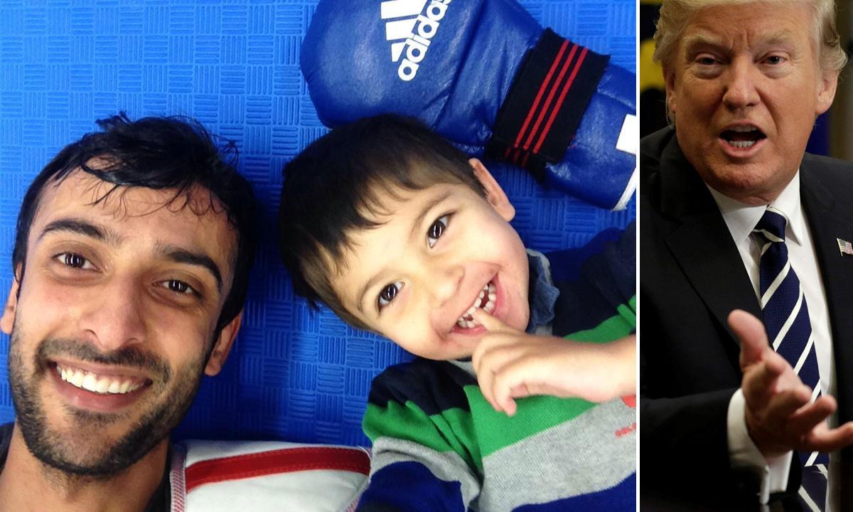 Lijevo: Meisam s trogodišnjim sinom Manijem, desno: Donald Trump