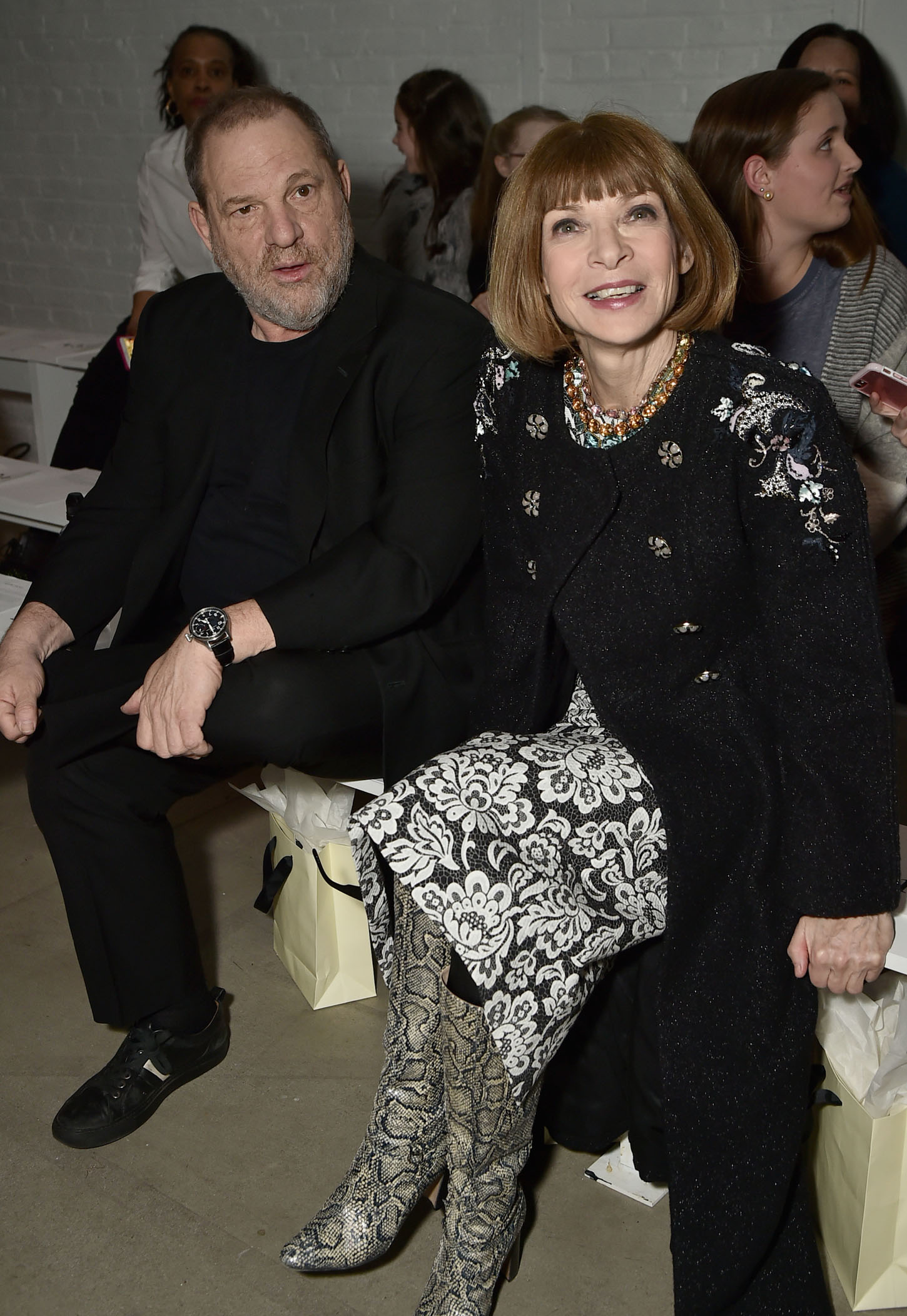 NEW YORK, NY - FEBRUARY 15:  Producer Harvey Weinstein and Vogue editor-in-chief Anna Wintour attend the Marchesa fashion show during, New York Fashion Week: The Shows at Gallery 2, Skylight Clarkson Sq on February 15, 2017 in New York City.  (Photo by Theo Wargo/Getty Images for New York Fashion Week: The Shows)