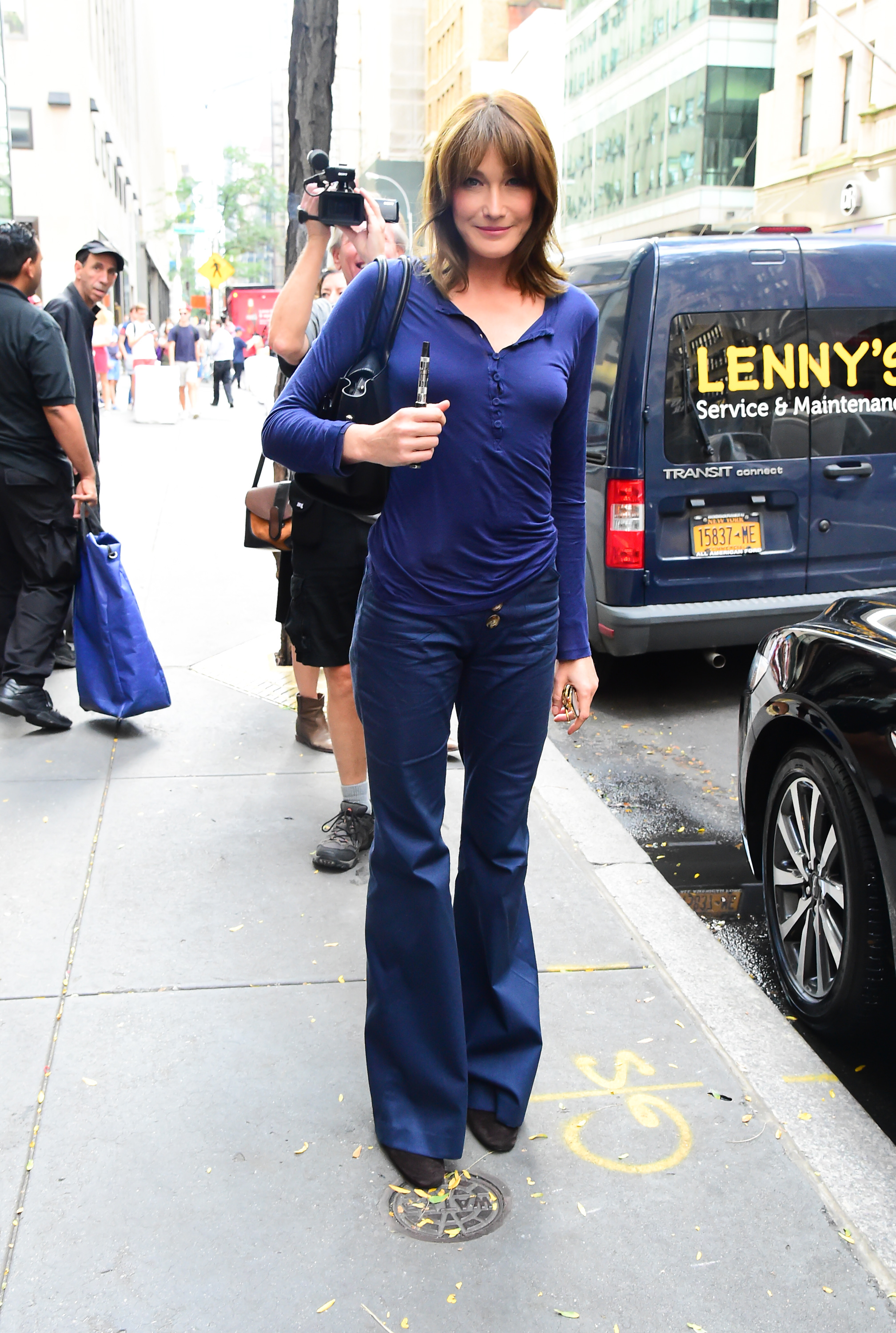 Model Carla Bruni leaving the 'Today' show in New York City, New York, USA.  <P> Pictured: Carla Bruni <B>Ref: SPL1598997  101017  </B><BR/> Picture by: H&H JDHIMAGEZ.COM / Splash News<BR/> </P><P> <B>Splash News and Pictures</B><BR/> Los Angeles:310-821-2666<BR/> New York:212-619-2666<BR/> London:870-934-2666<BR/> <span id=