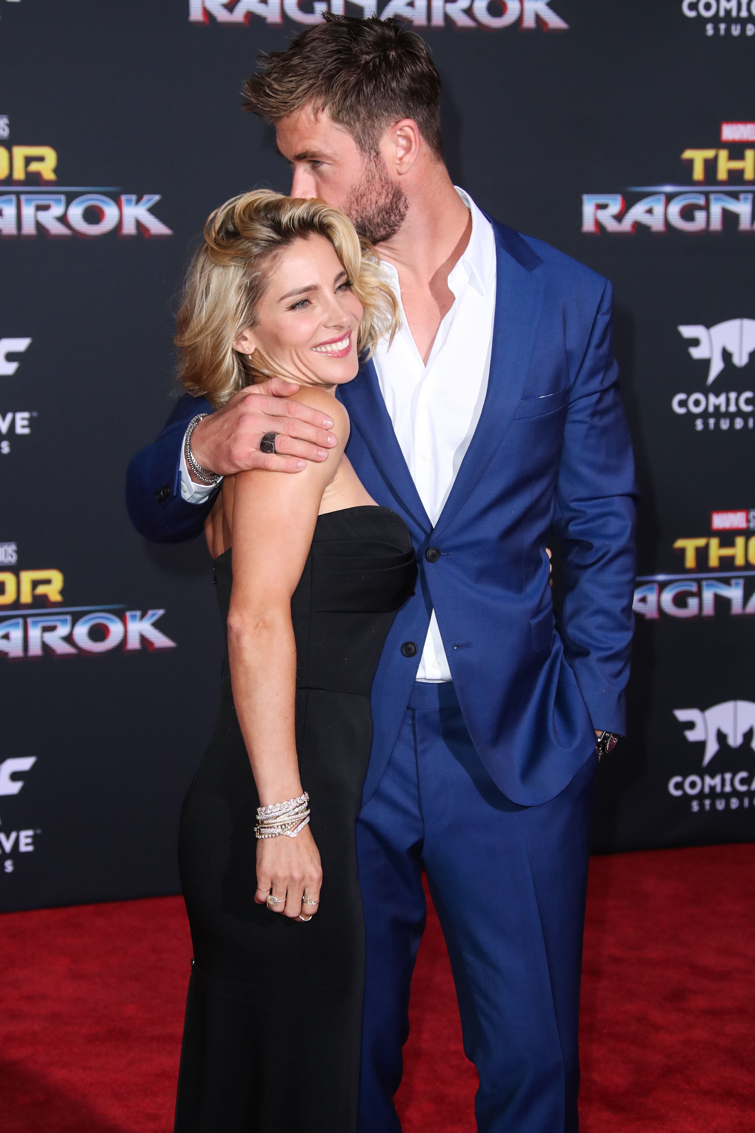 HOLLYWOOD, LOS ANGELES, CA, USA - OCTOBER 10: Actress Elsa Pataky and husband Chris Hemsworth arrive at the Los Angeles Premiere Of Disney And Marvel's 'Thor: Ragnarok' held at the El Capitan Theatre on October 10, 2017 in Hollywood, Los Angeles, California, United States. (Photo by Xavier Collin/Image Press Agency/Splash News) <P> Pictured: Elsa Pataky, Chris Hemsworth <B>Ref: SPL1599705  101017  </B><BR/> Picture by: Xavier Collin/IPA/Splash News<BR/> </P><P> <B>Splash News and Pictures</B><BR/> Los Angeles:310-821-2666<BR/> New York:212-619-2666<BR/> London:870-934-2666<BR/> <span id=