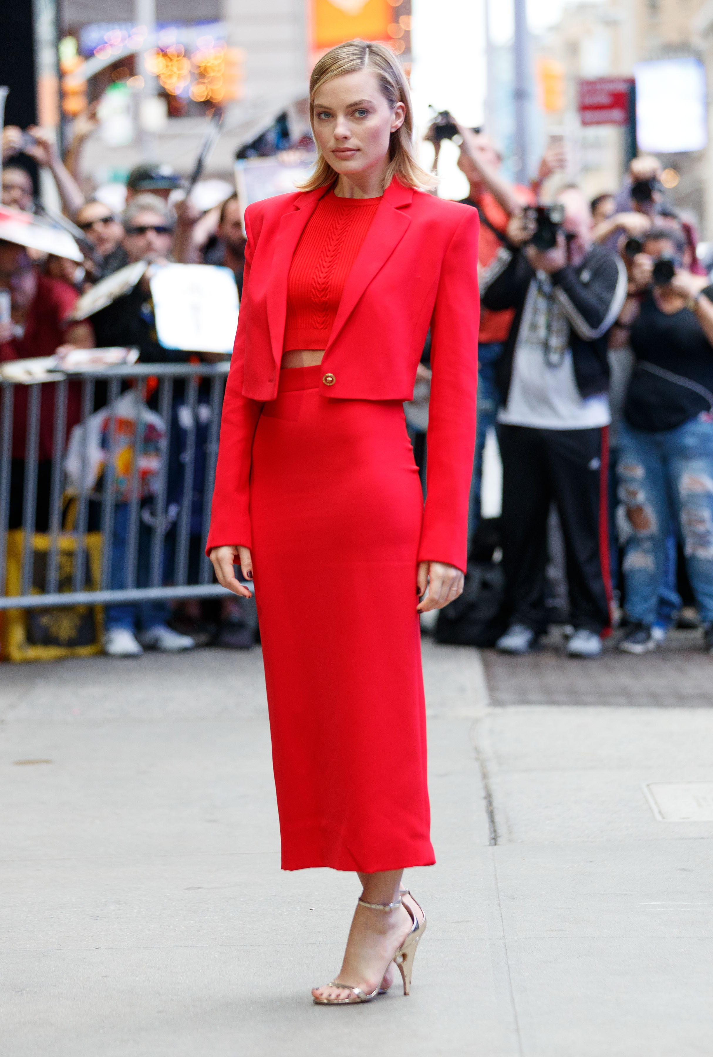 Margot Robbie looks ravishing in red outside 'Good Morning America' in New York City, New York. <P> Pictured: Margot Robbie <B>Ref: SPL1598603  111017  </B><BR/> Picture by: Jackson Lee / Splash News<BR/> </P><P> <B>Splash News and Pictures</B><BR/> Los Angeles:310-821-2666<BR/> New York:212-619-2666<BR/> London:870-934-2666<BR/> <span id=