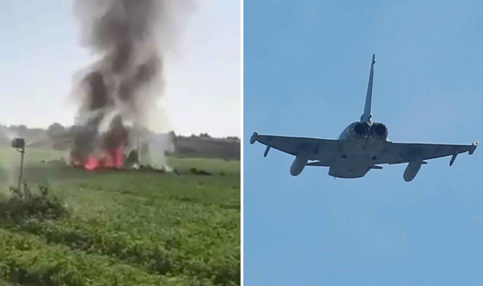 Mjesto pada zrakoplova i španjolski Eurofighter u letu