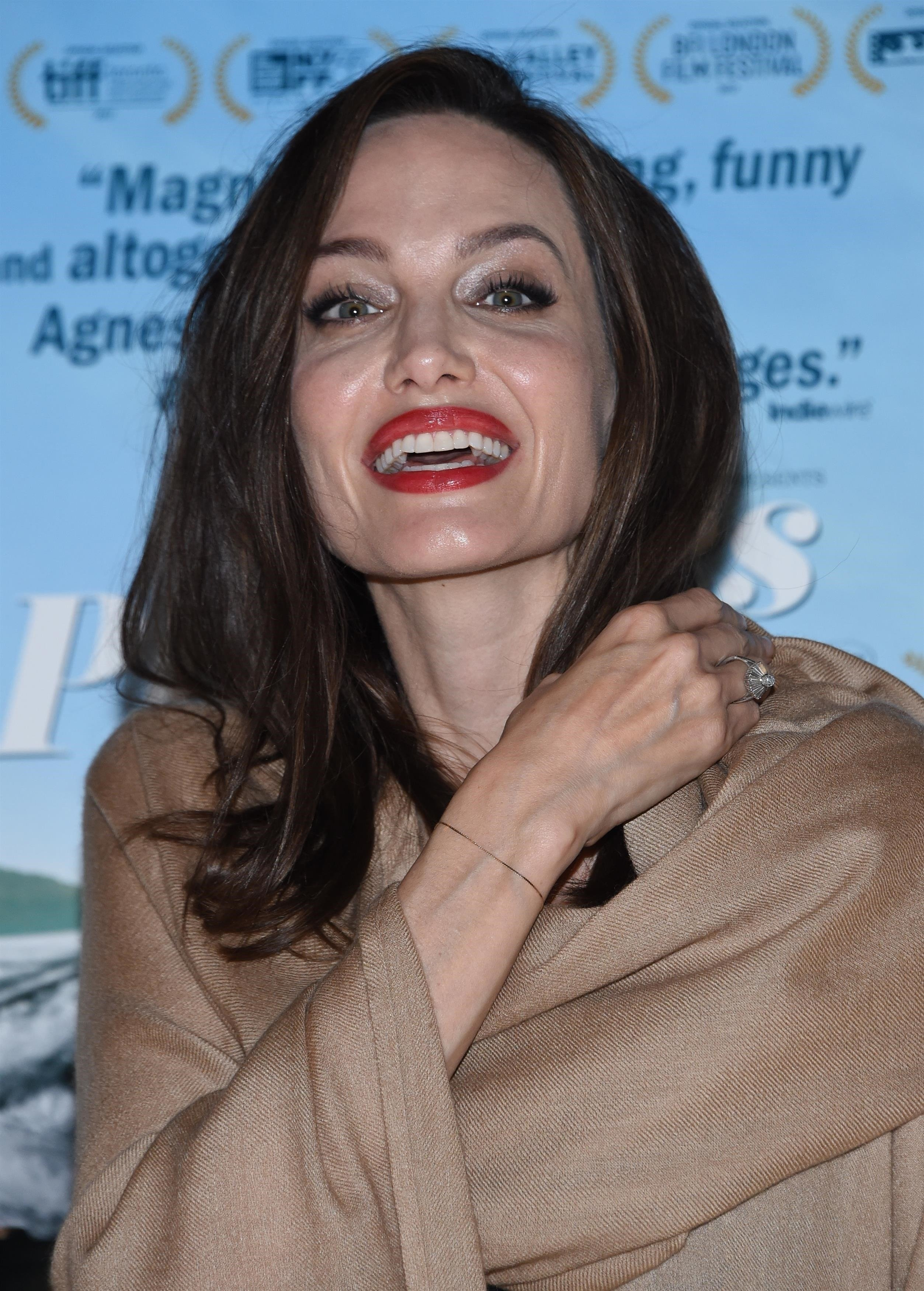 ** RIGHTS: WORLDWIDE EXCEPT IN FRANCE ** West Hollywood, CA  - Stars at the premiere of 'Faces Places' held at the Pacific Design center.  Pictured: Angelina Jolie  BACKGRID USA 11 OCTOBER 2017   USA: +1 310 798 9111 / usasales@backgrid.com  UK: +44 208 344 2007 / uksales@backgrid.com  *UK Clients - Pictures Containing Children Please Pixelate Face Prior To Publication*, Image: 352552538, License: Rights-managed, Restrictions: , Model Release: no, Credit line: Profimedia, AKM-GSI
