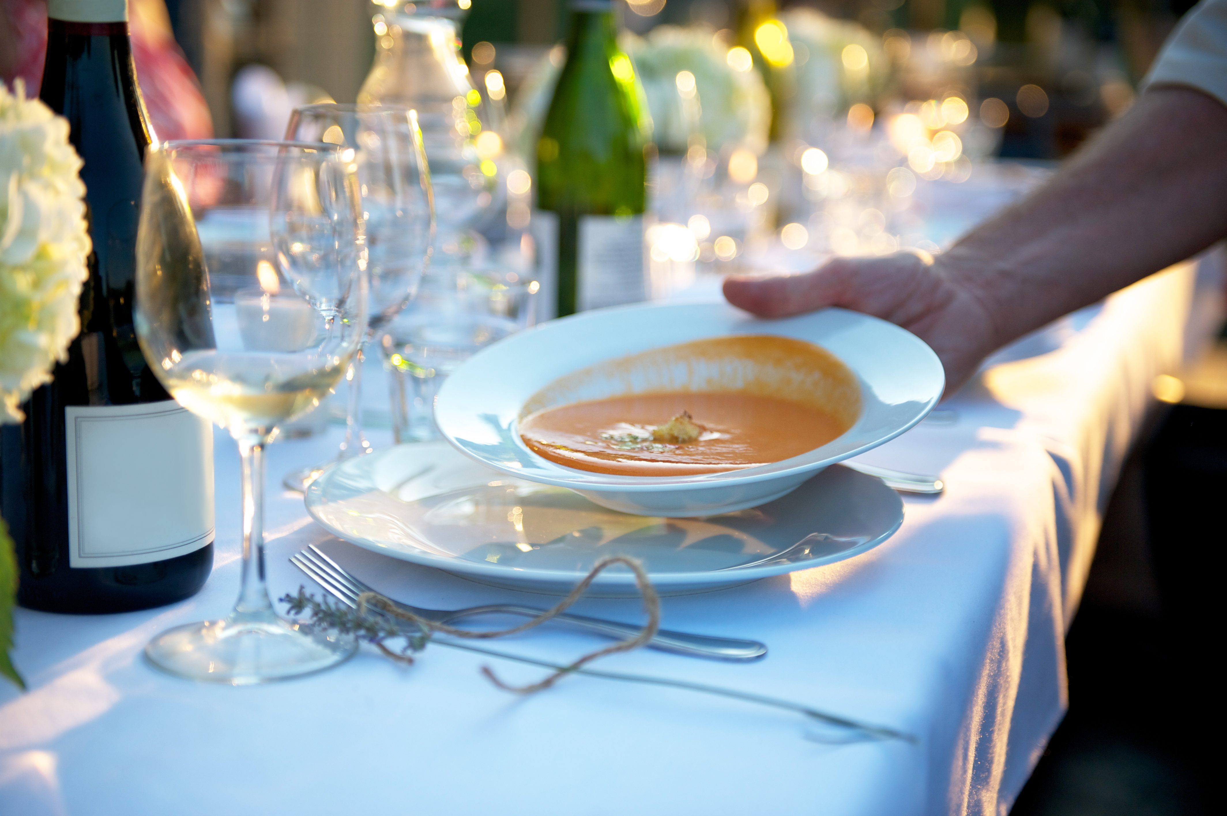 Photograph of a bowl of soup being served at an outdoor dinner party with a bottle of wine in frame with blank label.