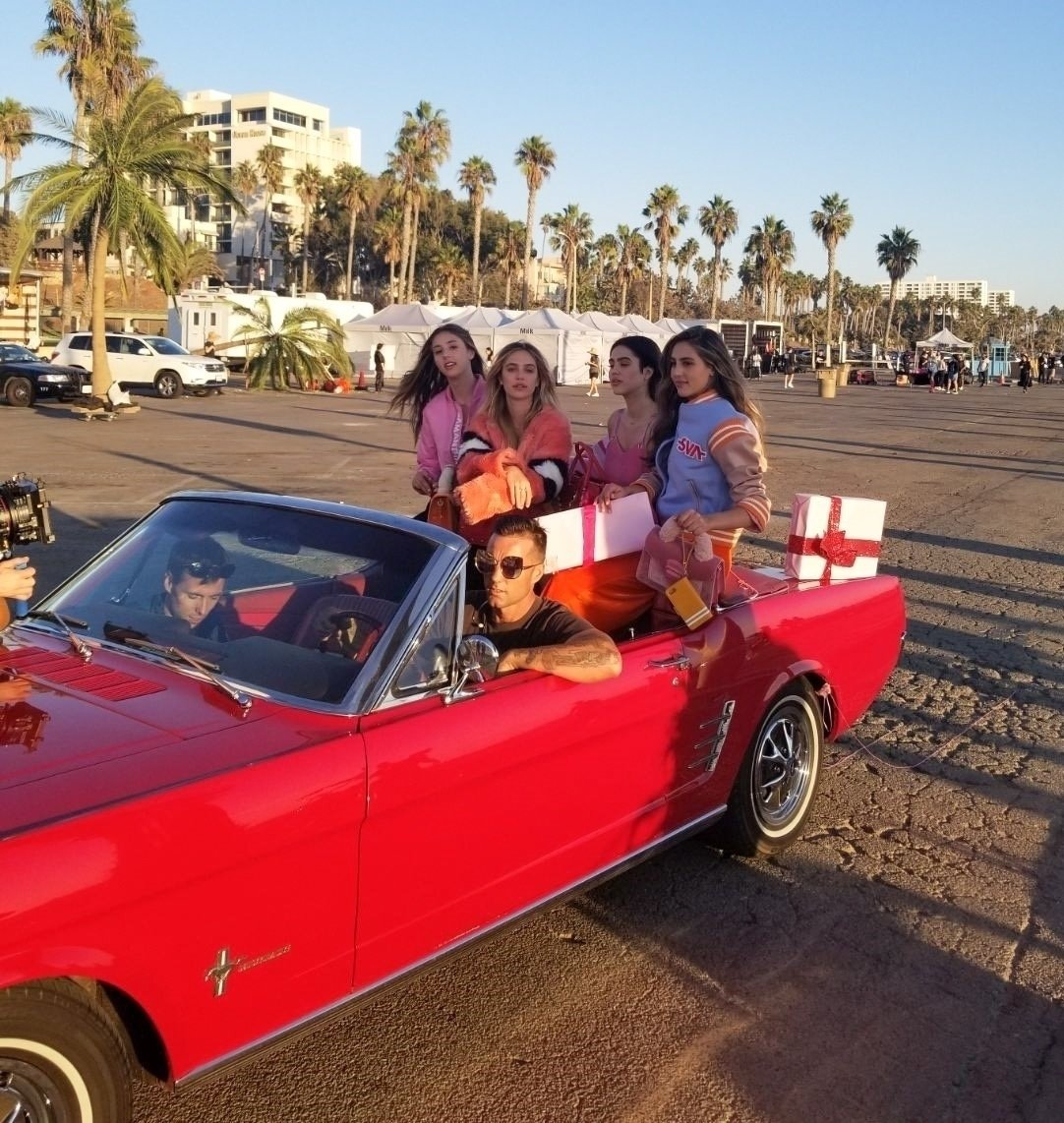 Venice Beach, CA  - *EXCLUSIVE*  - Sylvester Stallone's daughter Sophia Stallone was seen posing with a group of female models in the back of a classic convertible during a photoshoot in Venice Beach.  Pictured: Sophia Stallone  BACKGRID USA 15 OCTOBER 2017   USA: +1 310 798 9111 / usasales@backgrid.com  UK: +44 208 344 2007 / uksales@backgrid.com  *UK Clients - Pictures Containing Children Please Pixelate Face Prior To Publication*, Image: 353006744, License: Rights-managed, Restrictions: , Model Release: no, Credit line: Profimedia, AKM-GSI