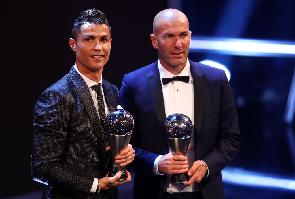 LONDON, ENGLAND - OCTOBER 23:  Cristiano Ronaldo of Portugal and Real Madrid CF wins The best Fifa men's player and Zinedine Zidane of France and Real Madrid CF wins The Best FIFA Men's Coach   during The Best FIFA Football Awards Show on October 23, 2017 in London, England.  (Photo by Michael Steele/Getty Images)