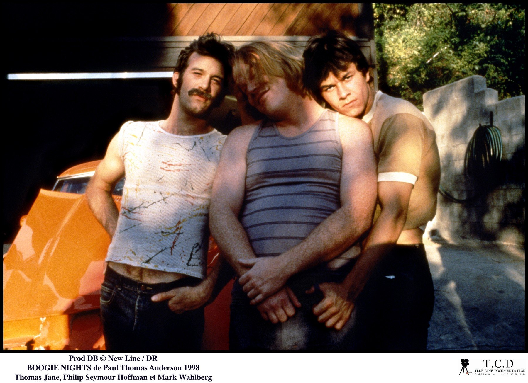 Prod DB ©New Line / DR BOOGIE NIGHTS (BOOGIE NIGHTS) de Paul Thomas Anderson 1998 USA avec Thomas Jane, Philip Seymour Hoffman et Mark Wahlberg homosexuels, porno-stars,, Image: 173066738, License: Rights-managed, Restrictions: NO RESTRICTION, Model Release: no, Credit line: Profimedia, Visual movies