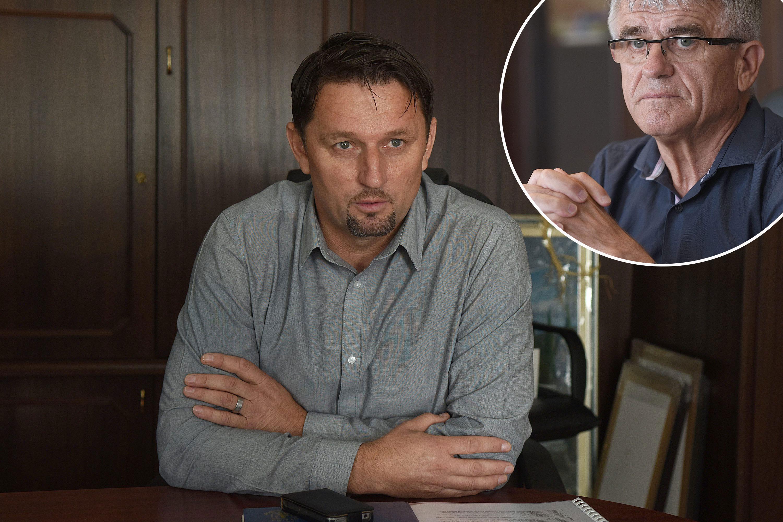 Ivica Požega i gradonačelnik Slunja Jure Katić (u krugu)