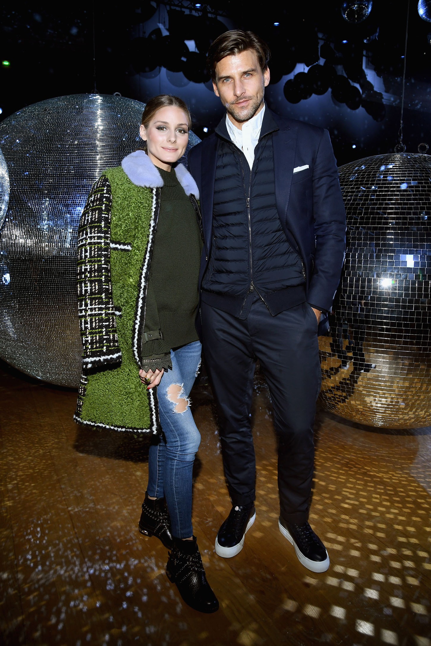PARIS, FRANCE - OCTOBER 03: Olivia Palermo and  Johannes Huebl attend the Moncler Gamme Rouge show as part of the Paris Fashion Week Womenswear  Spring/Summer 2018 on October 3, 2017 in Paris, France.  (Photo by Pascal Le Segretain/Getty Images)