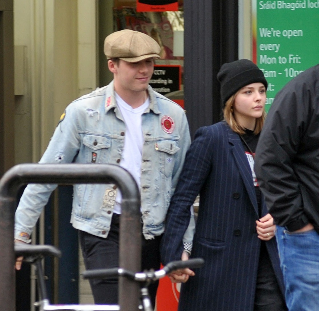EXCLUSIVE: Loved-up young couple Brooklyn Beckham and actress Chloe Grace Moretz were seen holding hands as they left a Tesco store in Dublin this afternoon.  Brooklyn flew in from New York this morning to see his girlfriend Chloe, who is currently filming 'The Widow' in Dublin, Ireland.  Pics taken Oct 7th. <P> Pictured: Brooklyn Beckham, Chloe Moretz <B>Ref: SPL1589756  081017   EXCLUSIVE</B><BR/> Picture by: Flynet - Splash News<BR/> </P><P> <B>Splash News and Pictures</B><BR/> Los Angeles:310-821-2666<BR/> New York:212-619-2666<BR/> London:870-934-2666<BR/> <span id=