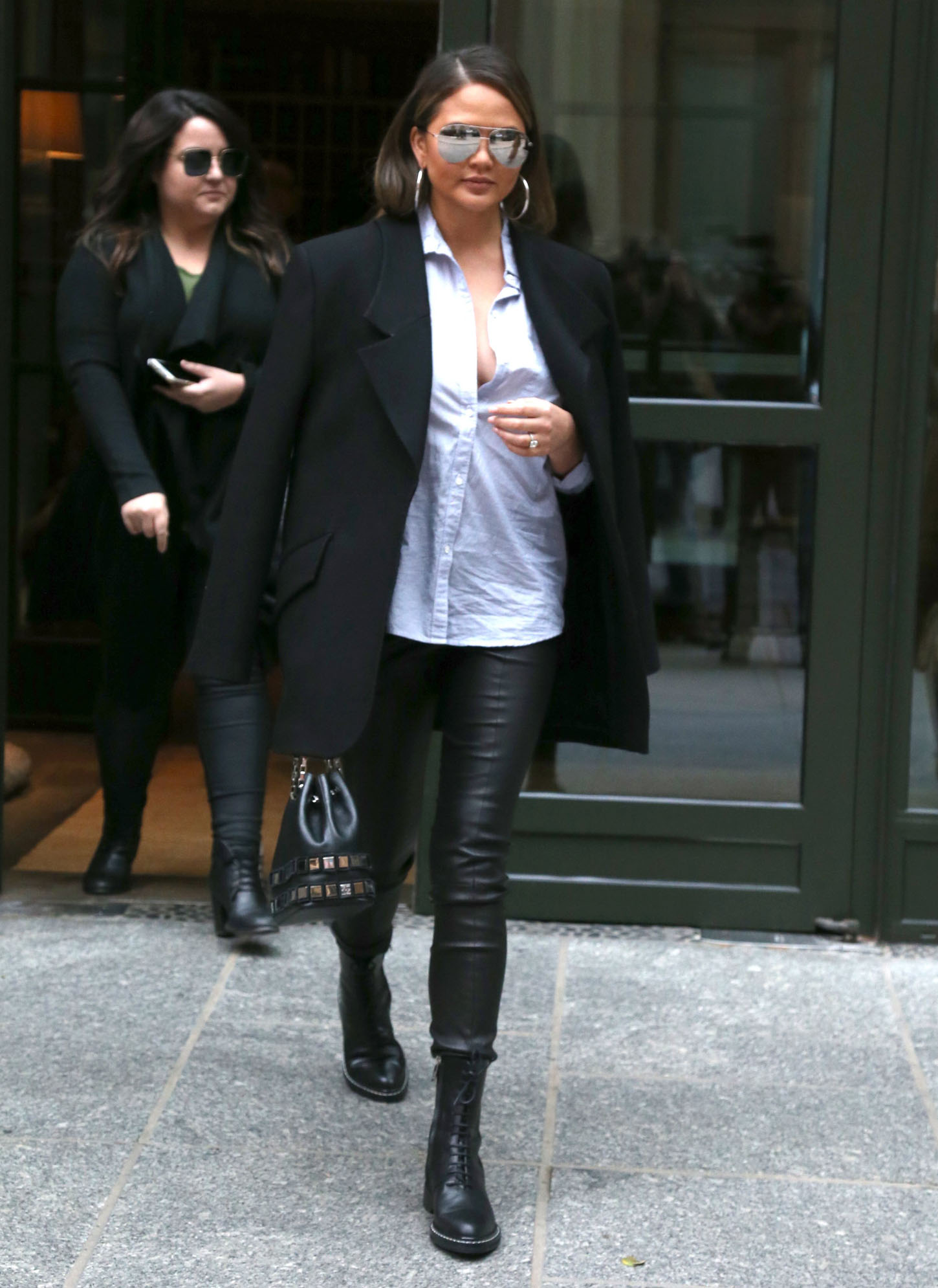 , New York, NY - 11/07/2017 - Chrissy Teigen in Leather Pants and Black Jacket out in Manhattan  -PICTURED: Chrissy Teigen -, Image: 354862994, License: Rights-managed, Restrictions: , Model Release: no, Credit line: Profimedia, INSTAR Images