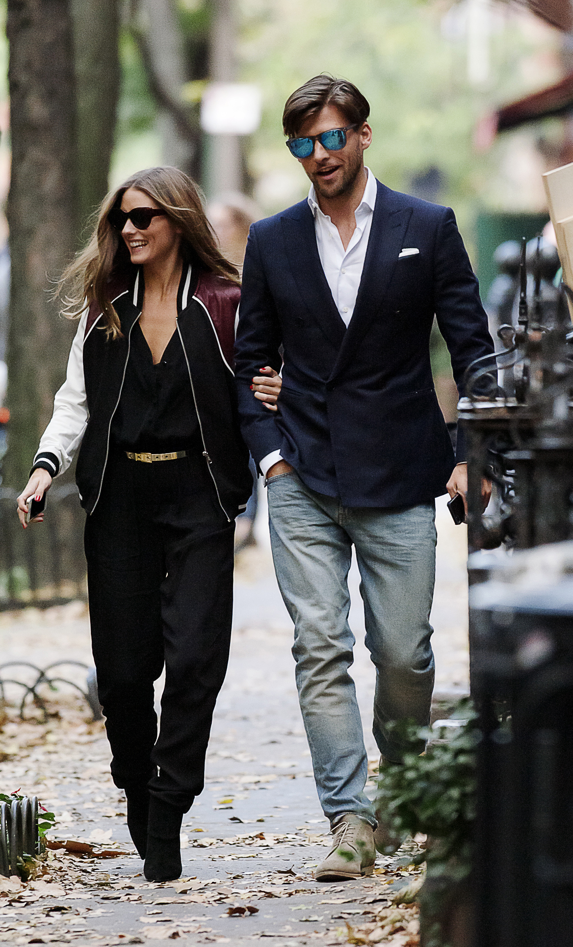 Olivia Palermo seen wearing a varsity jacket and jumpsuit while out with Johannes Huebl during a lunch date in the West Village neighborhood of NYC.  <P> Pictured: Olivia Palermo and Johannes Huebl <P><B>Ref: SPL642474  021113  </B><BR/> Picture by: Jason Webber / Splash News<BR/> </P><P> <B>Splash News and Pictures</B><BR/> Los Angeles:310-821-2666<BR/> New York:212-619-2666<BR/> London:870-934-2666<BR/> <span id=