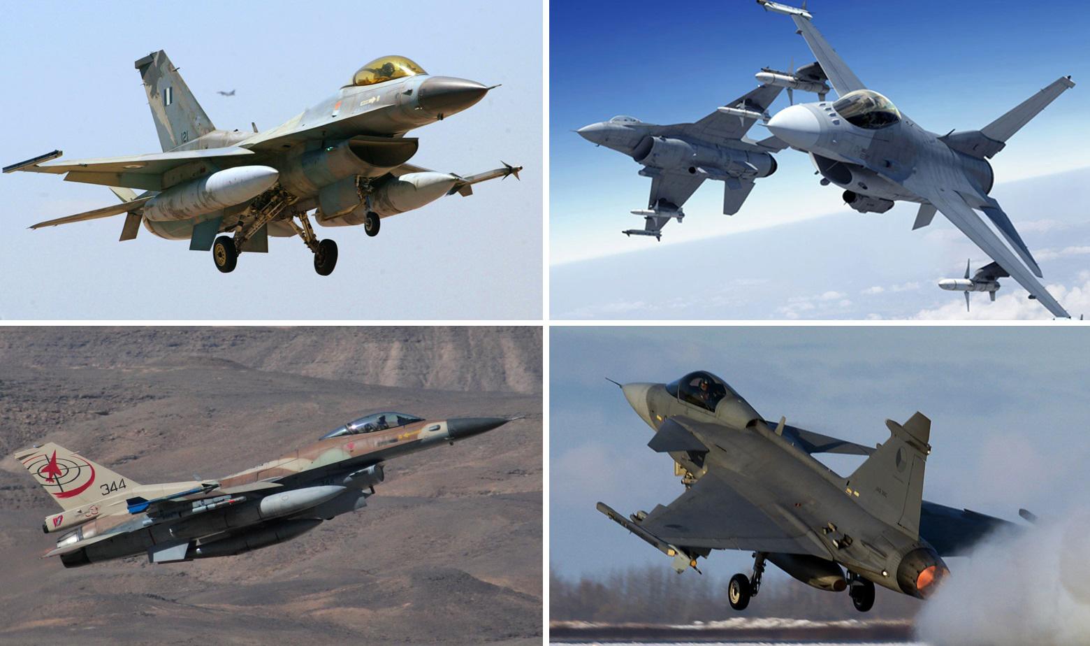 Gore: Grčki F-16 (lijevo) i F-16 Block 70 koji nude Amerikanci. Dolje: Izraleski F-16 Barak i Gripen C Čeških zračnih snaga.