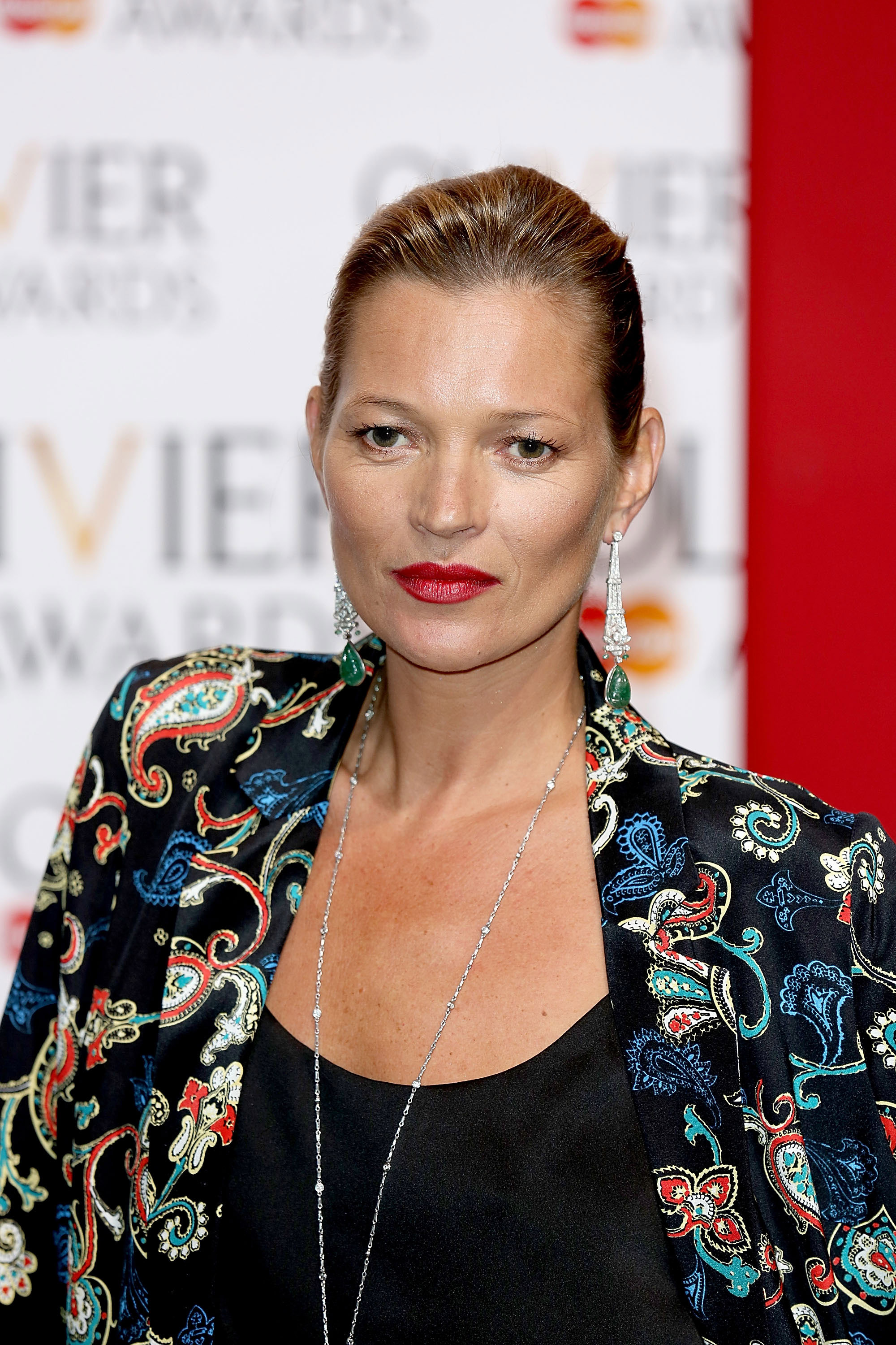 LONDON, ENGLAND - APRIL 13:  Kate Moss poses in the press room at the Laurence Olivier Awards at The Royal Opera House on April 13, 2014 in London, England.  (Photo by Tim P. Whitby/Getty Images)
