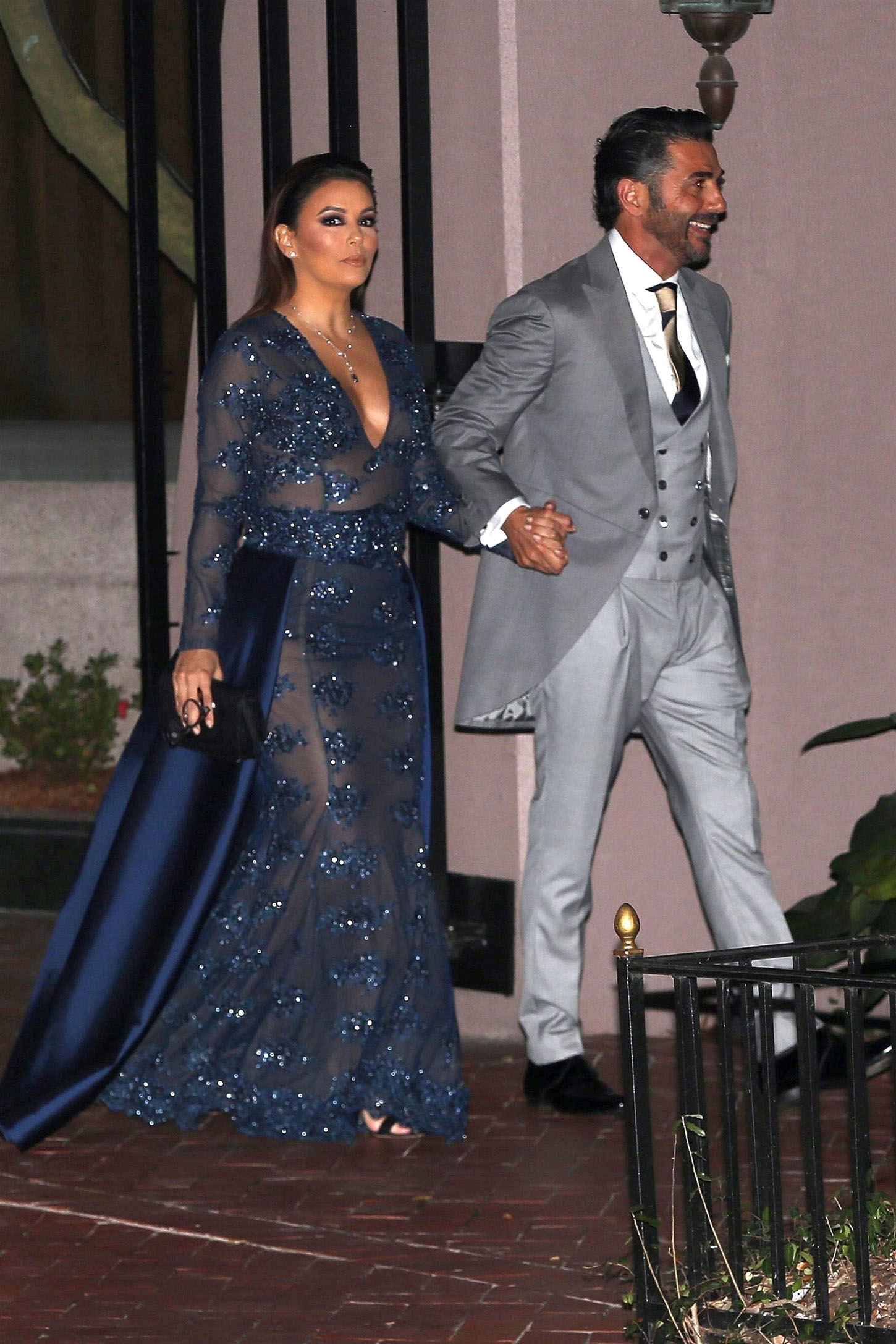 New Orleans, LA  - *EXCLUSIVE*  - Couple Eva Longoria and Jose Bastion are seen heading to the Serena Williams and Alexis Ohanian wedding in New Orleans. Eva looked stunning in a blue sequin gown.  Pictured: Eva Longoria, Jose Bastion    *UK Clients - Pictures Containing Children Please Pixelate Face Prior To Publication*, Image: 355540868, License: Rights-managed, Restrictions: , Model Release: no, Credit line: Profimedia, AKM-GSI