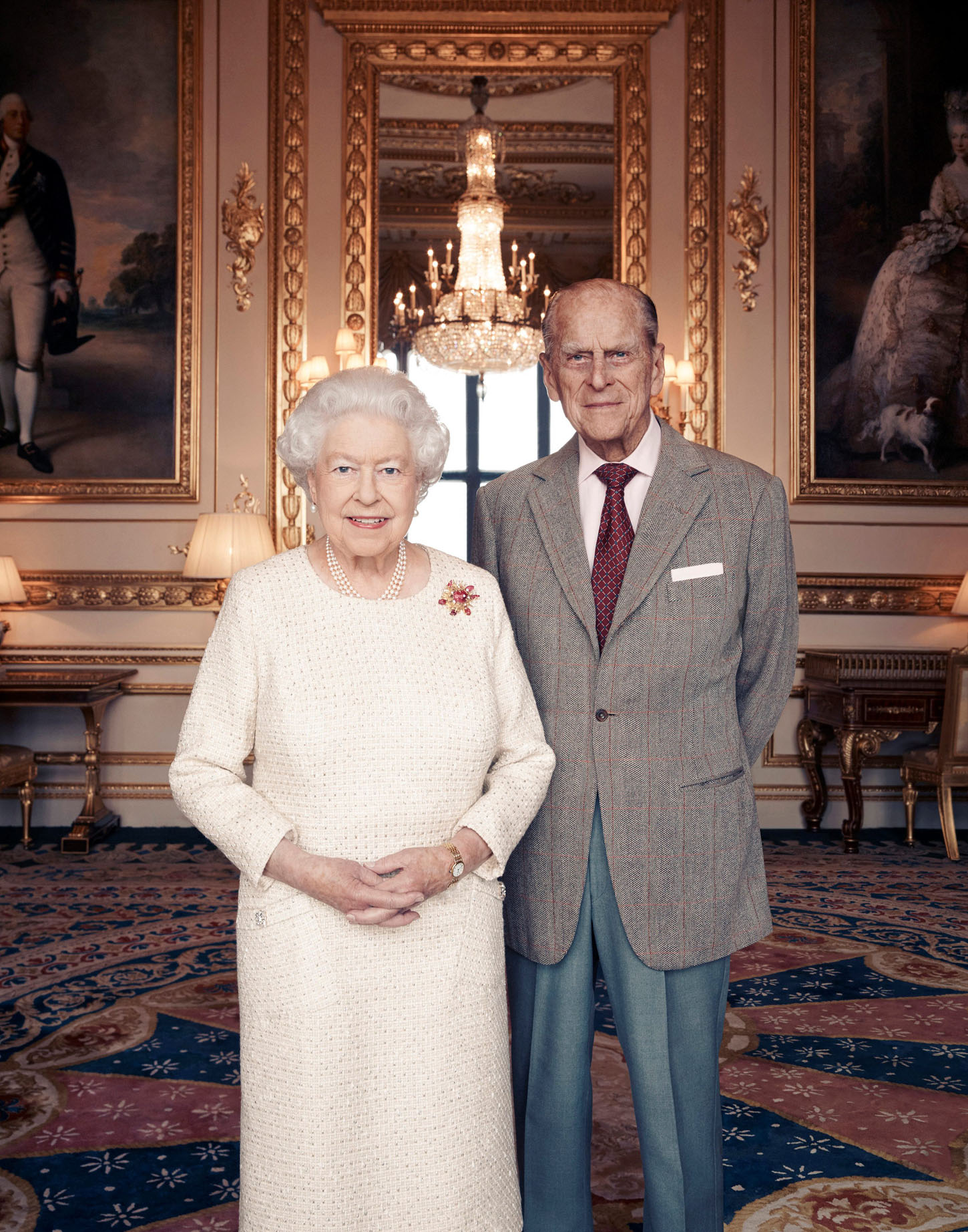 Handout photo issued November 18, 2017 by Camera Press of Britain's Queen Elizabeth II and Prince Philip, Duke of Edinburgh, taken in the White Drawing Room at Windsor Castle in early November, in celebration of their platinum wedding anniversary on November 20. Matt Holyoak/CameraPress/PA Wire/Handout via REUTERS      MANDATORY CREDIT. FREE EDITORIAL USE UNTIL DECEMBER 3RD. FOR EDITORIAL USE ONLY, NO COMMERCIAL, SOUVENIR, COVERS OR PROMOTIONAL USE PERMITTED. THE PHOTOGRAPH CANNOT BE CROPPED, MANIPULATED OR ALTERED IN ANY WAY. THIS PICTURE WAS PROVIDED BY A THIRD PARTY. NO RESALES. NO ARCHIVE.