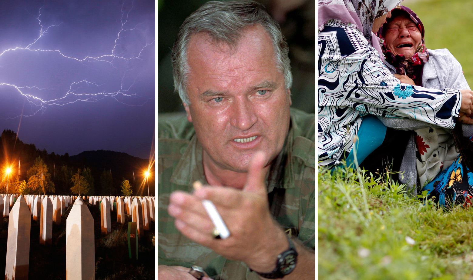 Memorijalni centar u Potočarima pokraj Srebrenice, Ratko Mladić snimljen 1995. i obitelji žrtava genocida u Srebrenici tijekom komemoracije 2014. godine