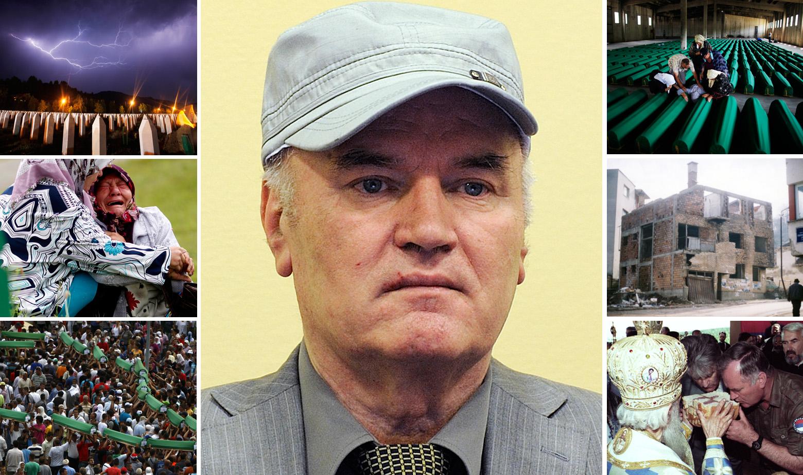 Ratko Mladić u sredini (2012.) i dolje desno s Radovanom Karadžićem i patrijarhom SPC-a Pavlom (1995.). Ostale fotografije iz Srebrenice i Memorijalnog centra Potočari