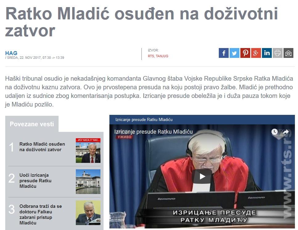 Vijest o presudi Ratku Mladiću na web stranici RTS-a