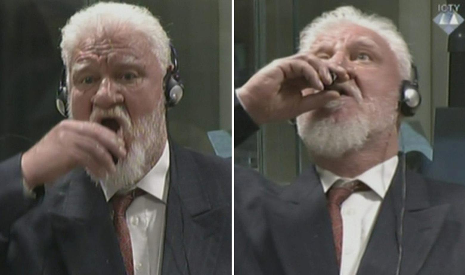 Slobodan Praljak pije nešto iz čašice tijekom izricanja presude pred Haškim tribunalom