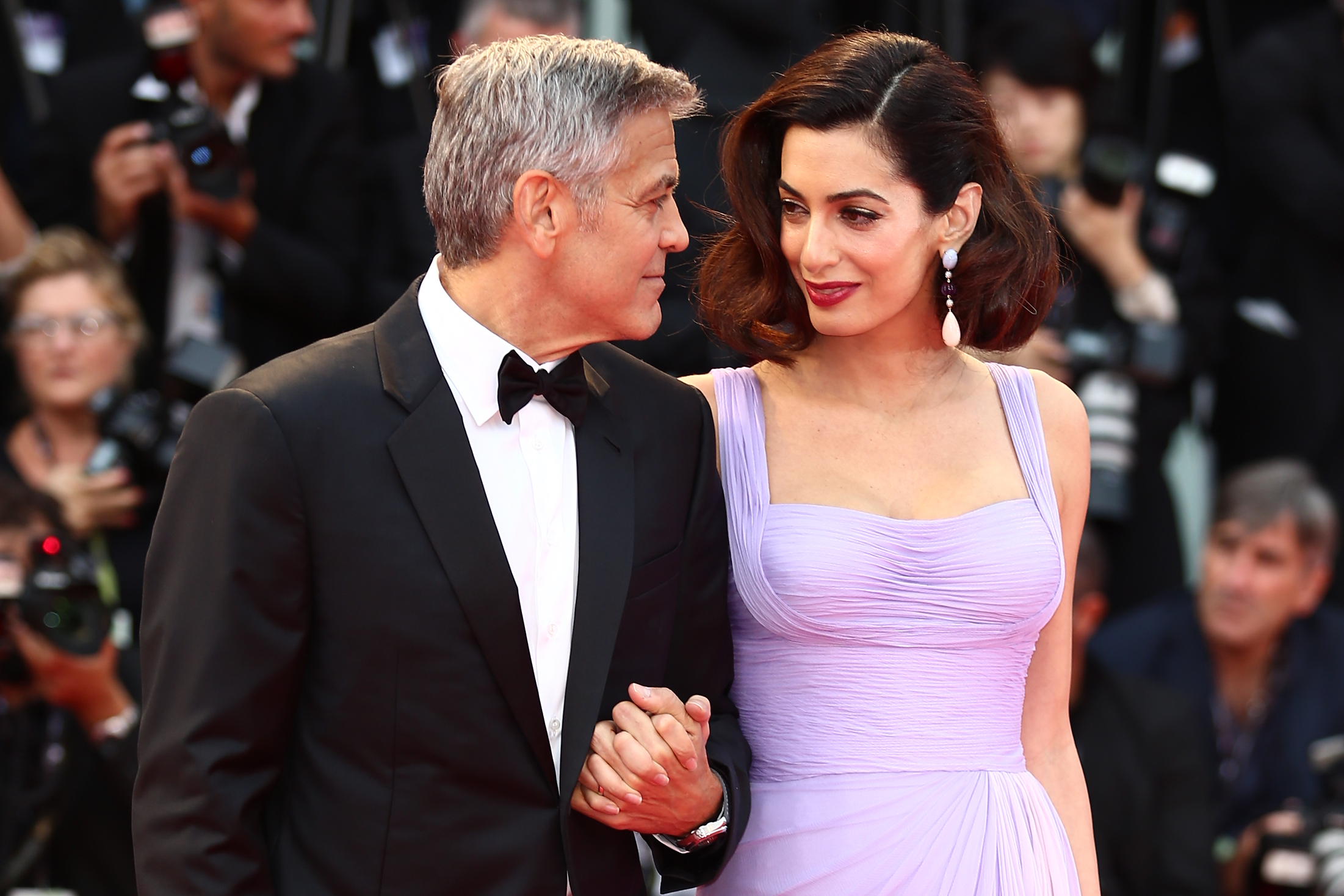 George and Amal Clooney, Matt Damon with Luciana Barroso, Julianne Moore and Chiara Ferragni attend the red carpet at the '74th Venice Film Festival' in Venice, Italy. <P> Pictured: George Clooney, Amal Clooney <B>Ref: SPL1567449  020917  </B><BR/> Picture by: Pierre Teyssot / Splash News<BR/> </P><P> <B>Splash News and Pictures</B><BR/> Los Angeles:310-821-2666<BR/> New York:212-619-2666<BR/> London:870-934-2666<BR/> <span id=