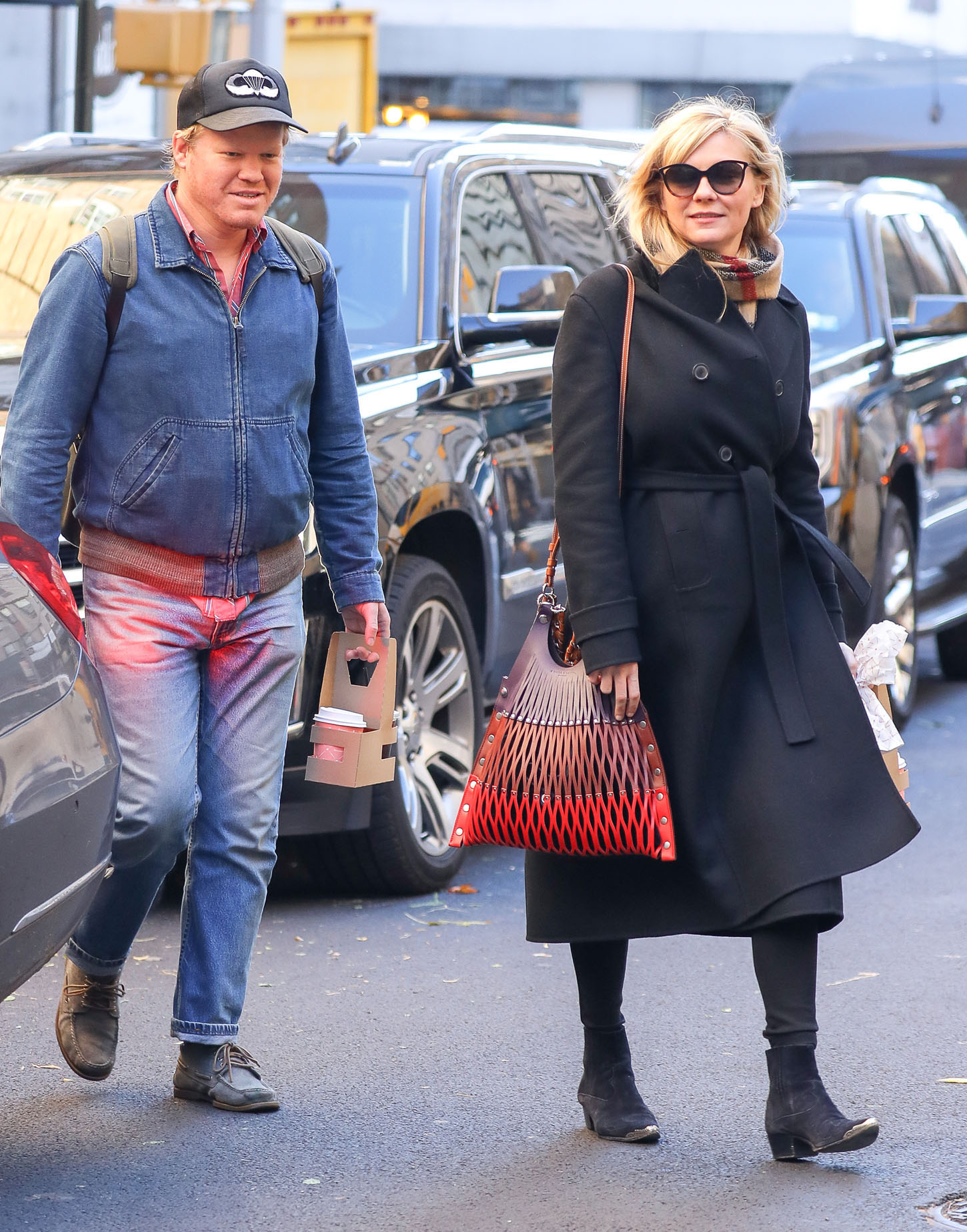 Kirsten Dunst and fiance Jesse Plemons were spotted with  hot drinks from Sant Ambroeus in the Upper East Side, New York City, New York, USA. <P> Pictured: Kirsten Dunst and Jesse Plemons <B>Ref: SPL1625761  171117  </B><BR/> Picture by: Felipe Ramales / Splash News<BR/> </P><P> <B>Splash News and Pictures</B><BR/> Los Angeles:310-821-2666<BR/> New York:212-619-2666<BR/> London:870-934-2666<BR/> <span id=