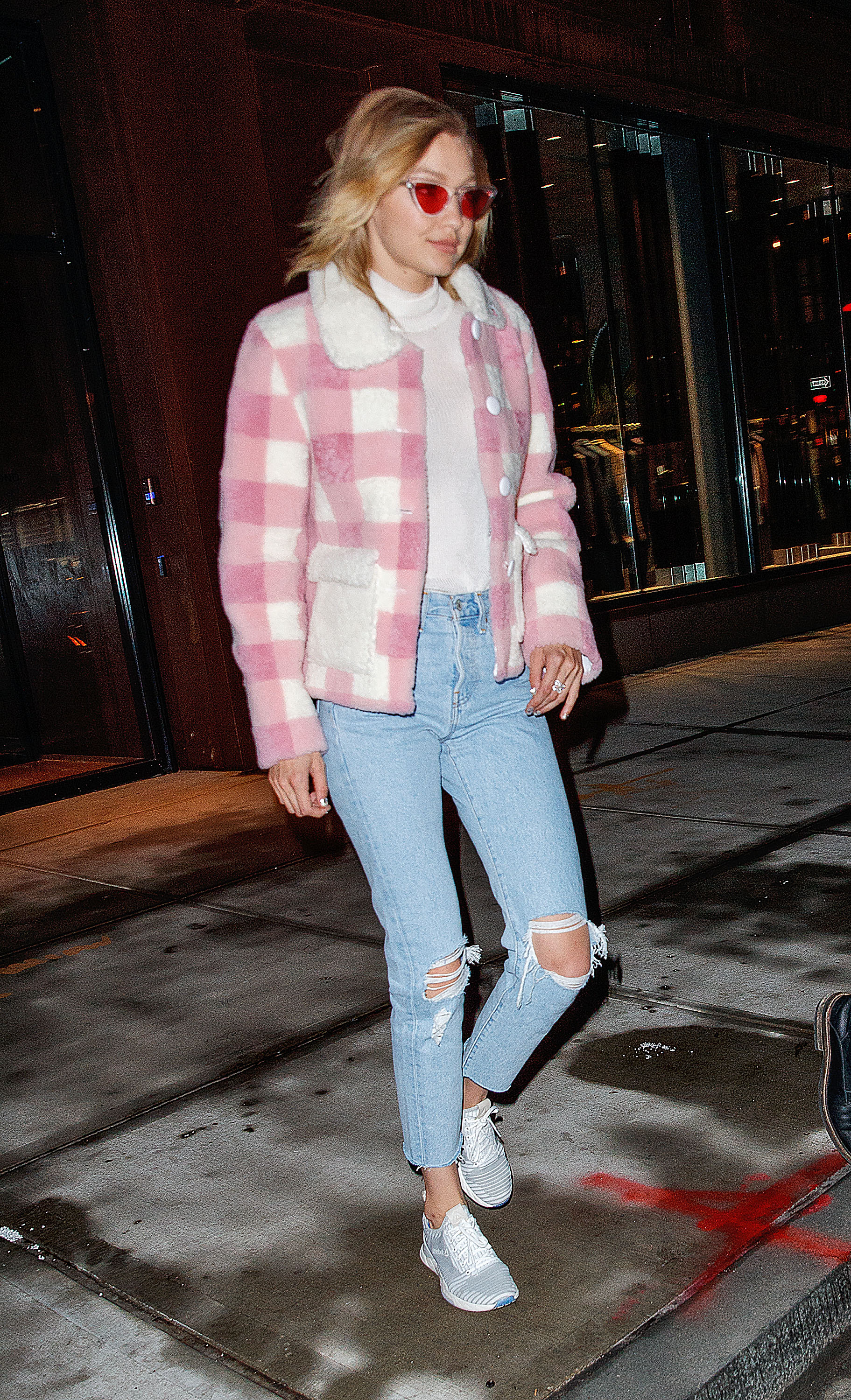 EXCLUSIVE: Gigi Hadid wears a furry pink jacket paired with denim jeans when out and about in New York <P> Pictured: Gigi Hadid <B>Ref: SPL1638461  171217   EXCLUSIVE</B><BR/> Picture by: Jackson Lee / Splash News<BR/> </P><P> <B>Splash News and Pictures</B><BR/> Los Angeles:310-821-2666<BR/> New York:212-619-2666<BR/> London:870-934-2666<BR/> <span id=