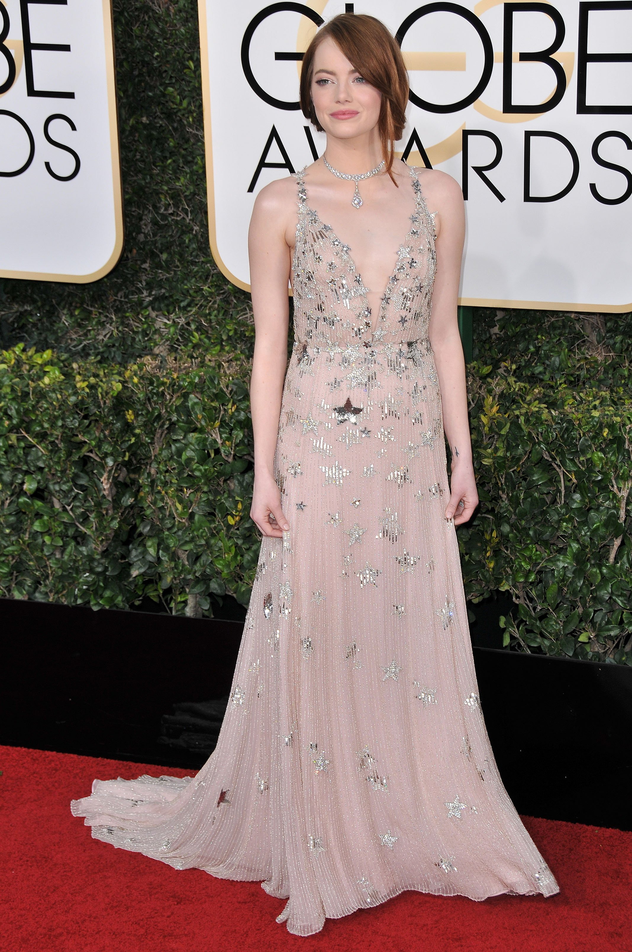 Emma Stone at the 74th Annual Golden Globe Awards held at The Beverly Hilton Hotel in Beverly Hills, CA , USA , January 8, 2017., Image: 310509535, License: Rights-managed, Restrictions: NO ITALY, GERMANY, BENELUX, USA or AUSTRALIA- Fee Payable Upon Reproduction - For queries contact Photoshot - sales@avalon.red  London: +44 (0) 20 7421 6000  Los Angeles: +1 (310) 822 0419  Berlin: +49 (0) 30 76 212 251, Model Release: no, Credit line: Profimedia, Uppa entertainment