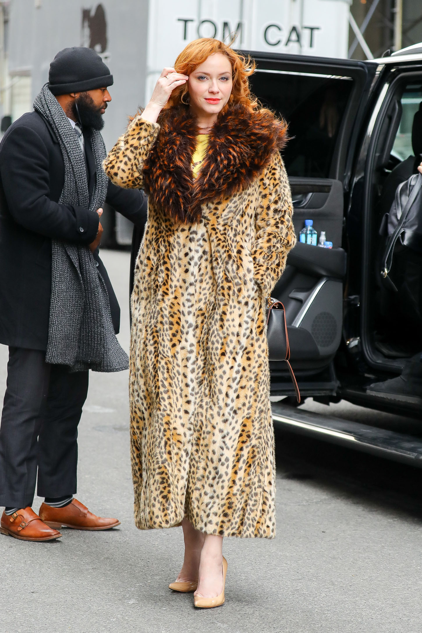 Christina Hendricks spotted wearing a leopard print coat in a cold day in New York City <P> Pictured: Christina Hendricks <B>Ref: SPL1637014  131217  </B><BR/> Picture by: Felipe Ramales / Splash News<BR/> </P><P> <B>Splash News and Pictures</B><BR/> Los Angeles:310-821-2666<BR/> New York:212-619-2666<BR/> London:870-934-2666<BR/> <span id=