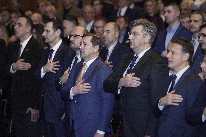 Na fotografiji: Andrija Mikulić,predsjednik HDZ-a i Vlade RH Andrej Plenković, Gordan Jandroković