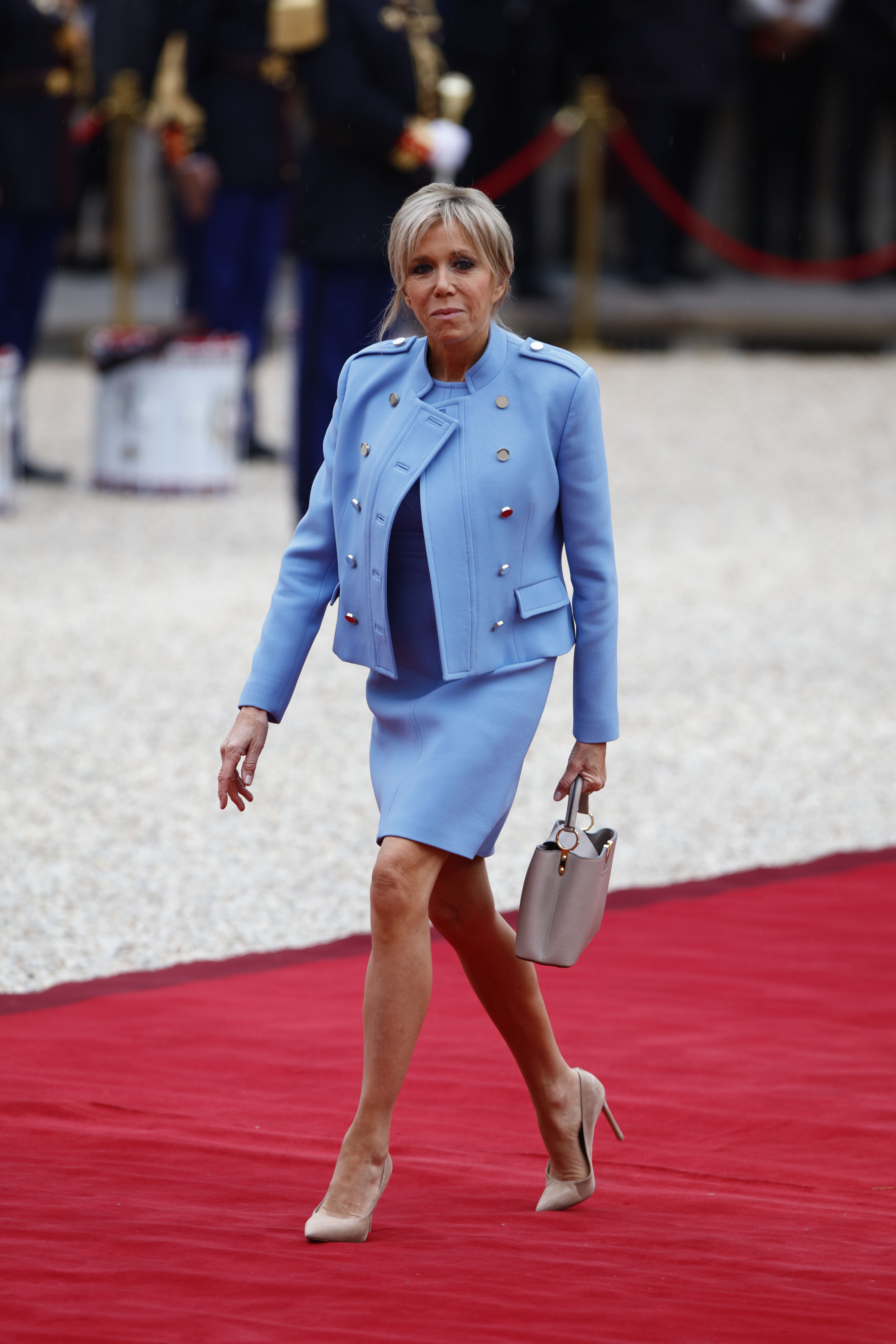 Emmanuel Macron becomes the new President of France during his inauguration ceremony alongside former President Francois Hollande at the Elysee Palace in Paris, France.  <P> Pictured: Emmanuel Macron, Brigitte Trogneux <B>Ref: SPL1497741  140517  </B><BR/> Picture by: Splash News<BR/> </P><P> <B>Splash News and Pictures</B><BR/> Los Angeles:310-821-2666<BR/> New York:212-619-2666<BR/> London:870-934-2666<BR/> <span id=