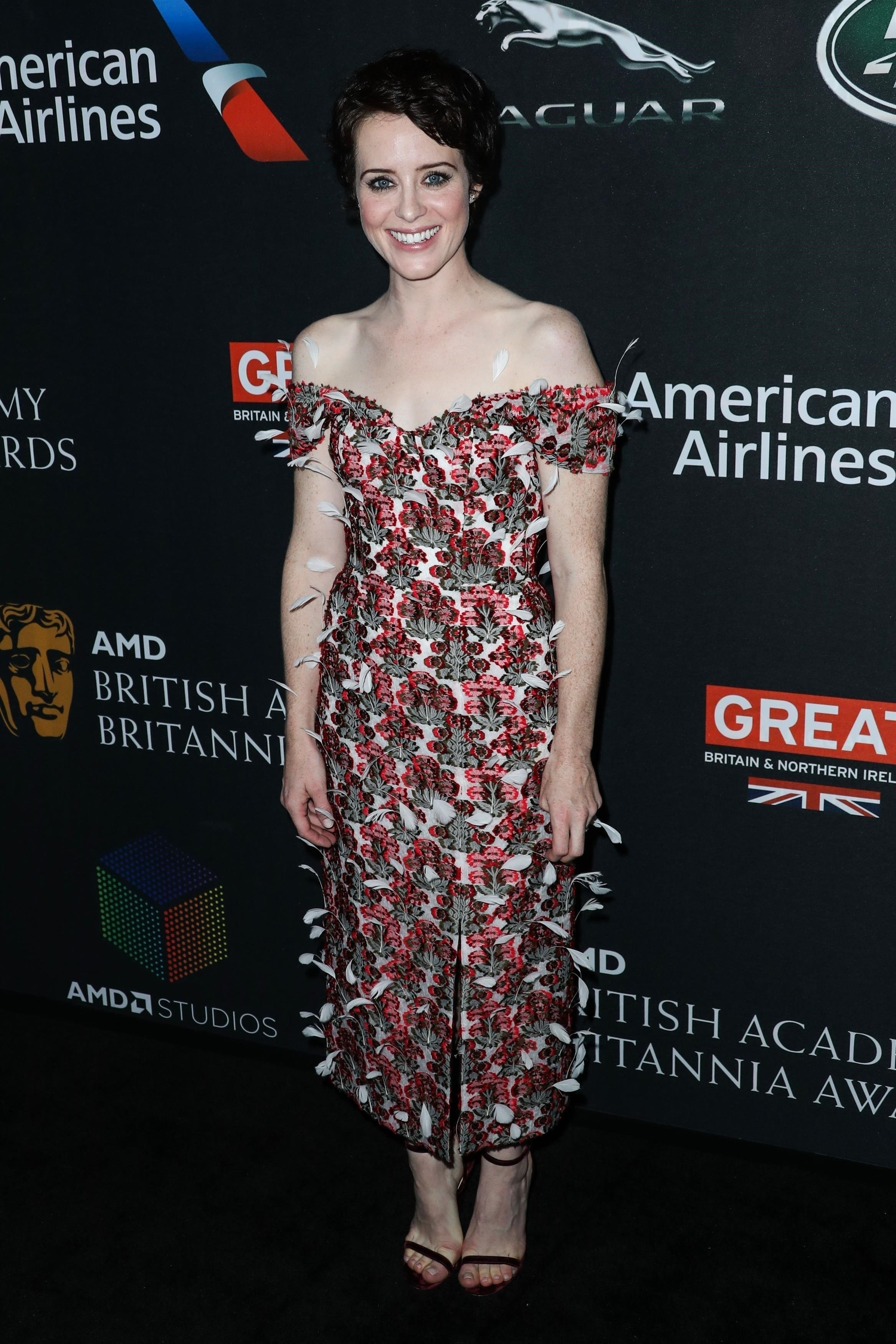 Beverly Hills, CA  - 2017 AMD British Academy Britannia Awards Presented by American Airlines And Jaguar Land Rover held at the Beverly Hilton Hotel on October 27, 2017 in Beverly Hills, California.  Pictured: Claire Foy  BACKGRID USA 27 OCTOBER 2017, Image: 354073204, License: Rights-managed, Restrictions: , Model Release: no, Credit line: Profimedia, AKM-GSI