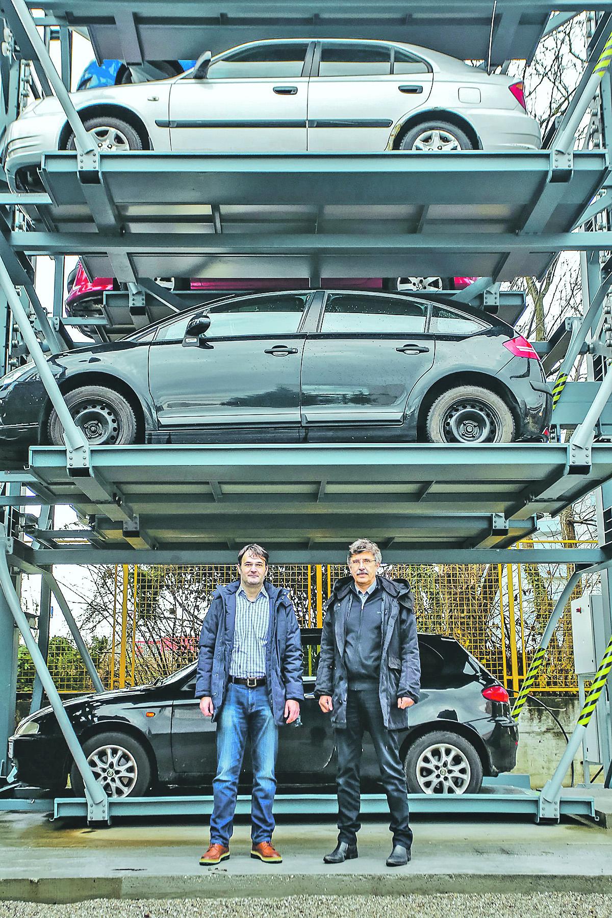 Inovativni parking sustav Rotary parking tvrtke Europark Systems.Na fotografiji: voditelji projekta Ivan Gudelj i Zvonimir Prljić
