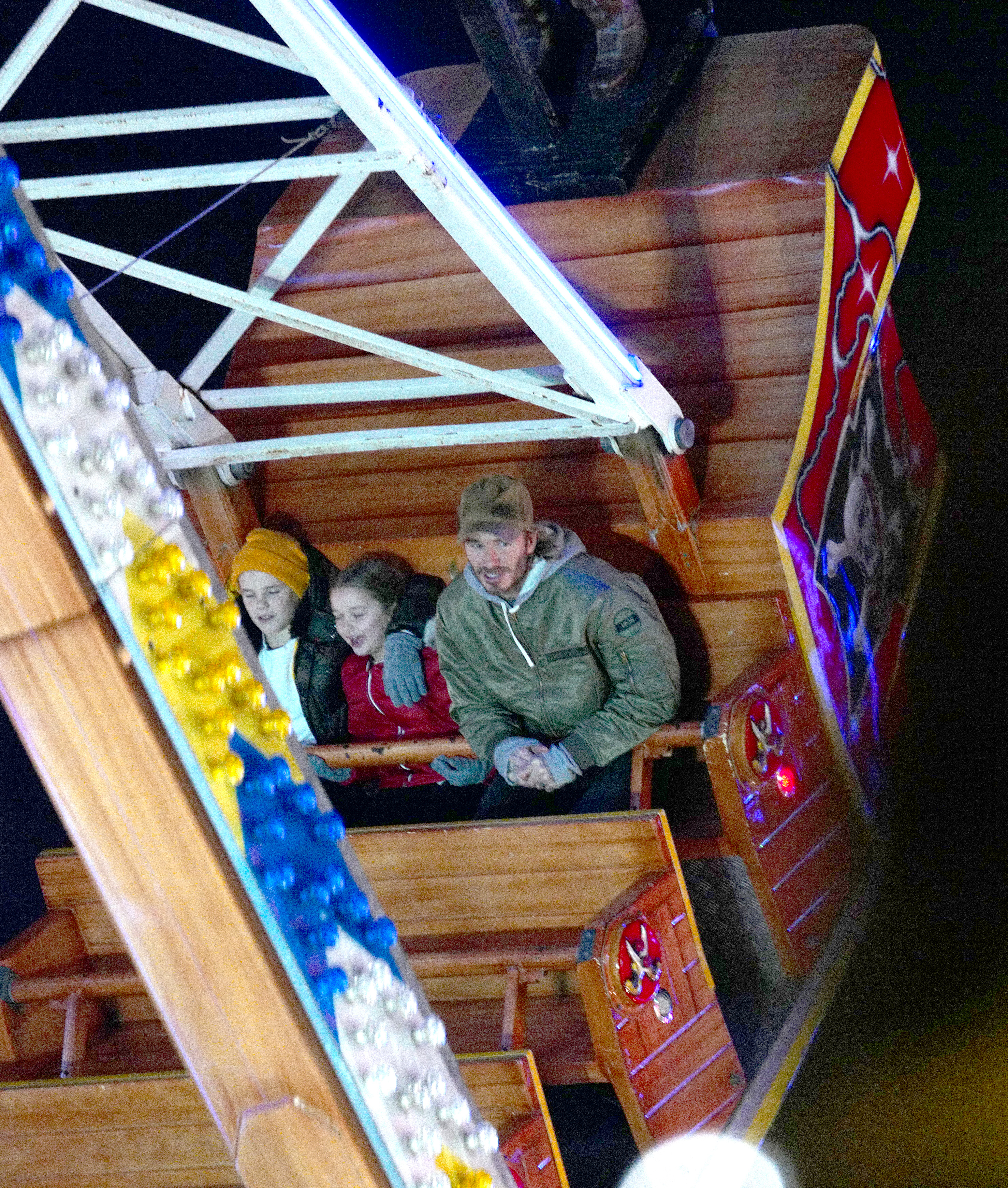 EXCLUSIVE: Doting dad David Beckham with kids Harper, Romeo and Cruz have a blast on the rides at Winter Wonderland, London. David and the kids were all smiles as they looked to be having a great family time on a rollercoaster and a pirate ship at the popular Christmas fair in Hyde Park.   Pics taken Nov 28th. <P> Pictured: Doting dad David Beckham, Harper and Cruz <B>Ref: SPL1632599  051217   EXCLUSIVE</B><BR/> Picture by: Splash News<BR/> </P><P> <B>Splash News and Pictures</B><BR/> Los Angeles:	310-821-2666<BR/> New York:	212-619-2666<BR/> London:	870-934-2666<BR/> <span id=