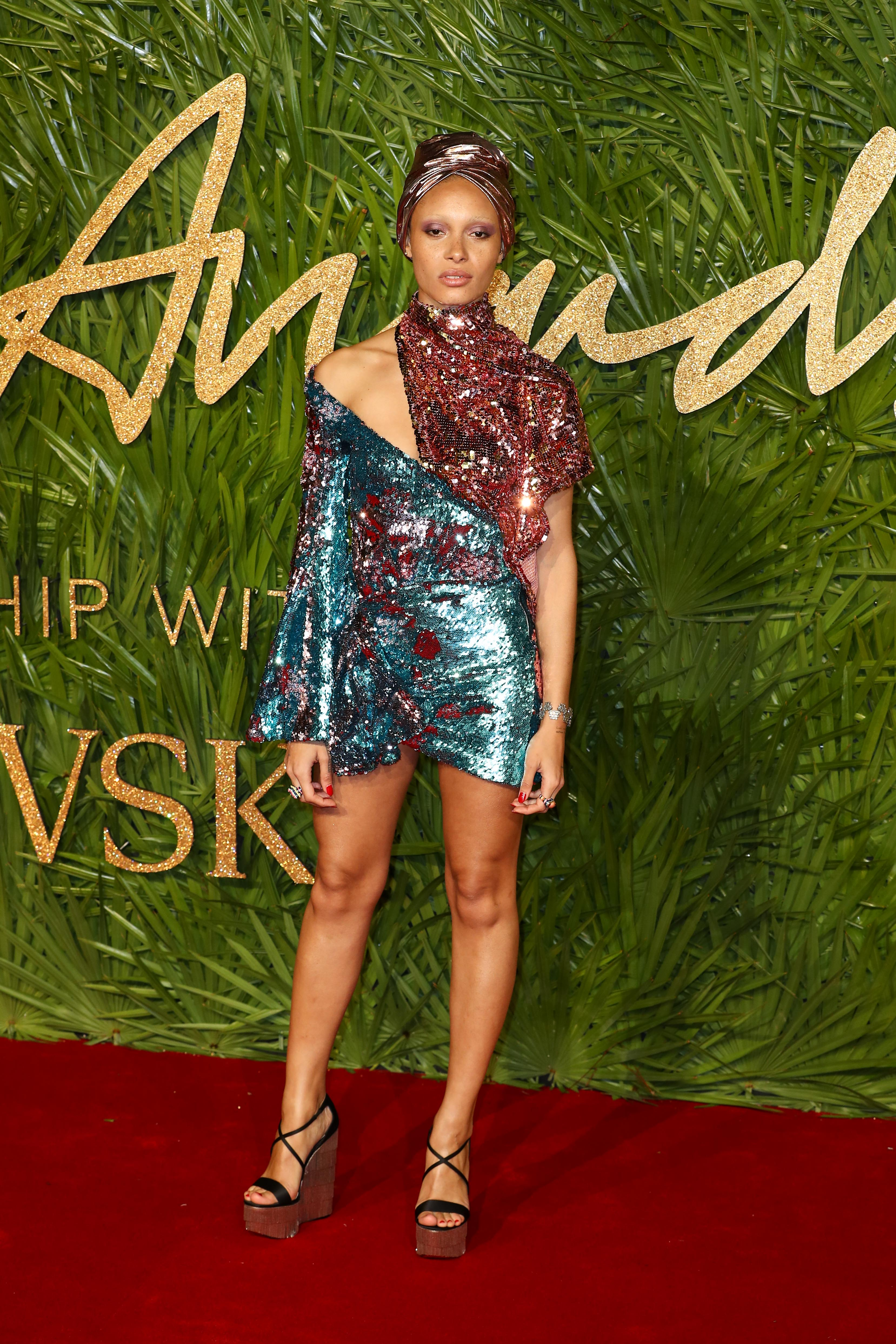 Adwoa Aboah attends The Fashion Awards 2017 in partnership with Swarovski at Royal Albert Hall on December 4, 2017 in London, England.  <P> Pictured: Adwoa Aboah <B>Ref: SPL1632812  041217  </B><BR/> Picture by: Splash News<BR/> </P><P> <B>Splash News and Pictures</B><BR/> Los Angeles:310-821-2666<BR/> New York:212-619-2666<BR/> London:870-934-2666<BR/> <span id=