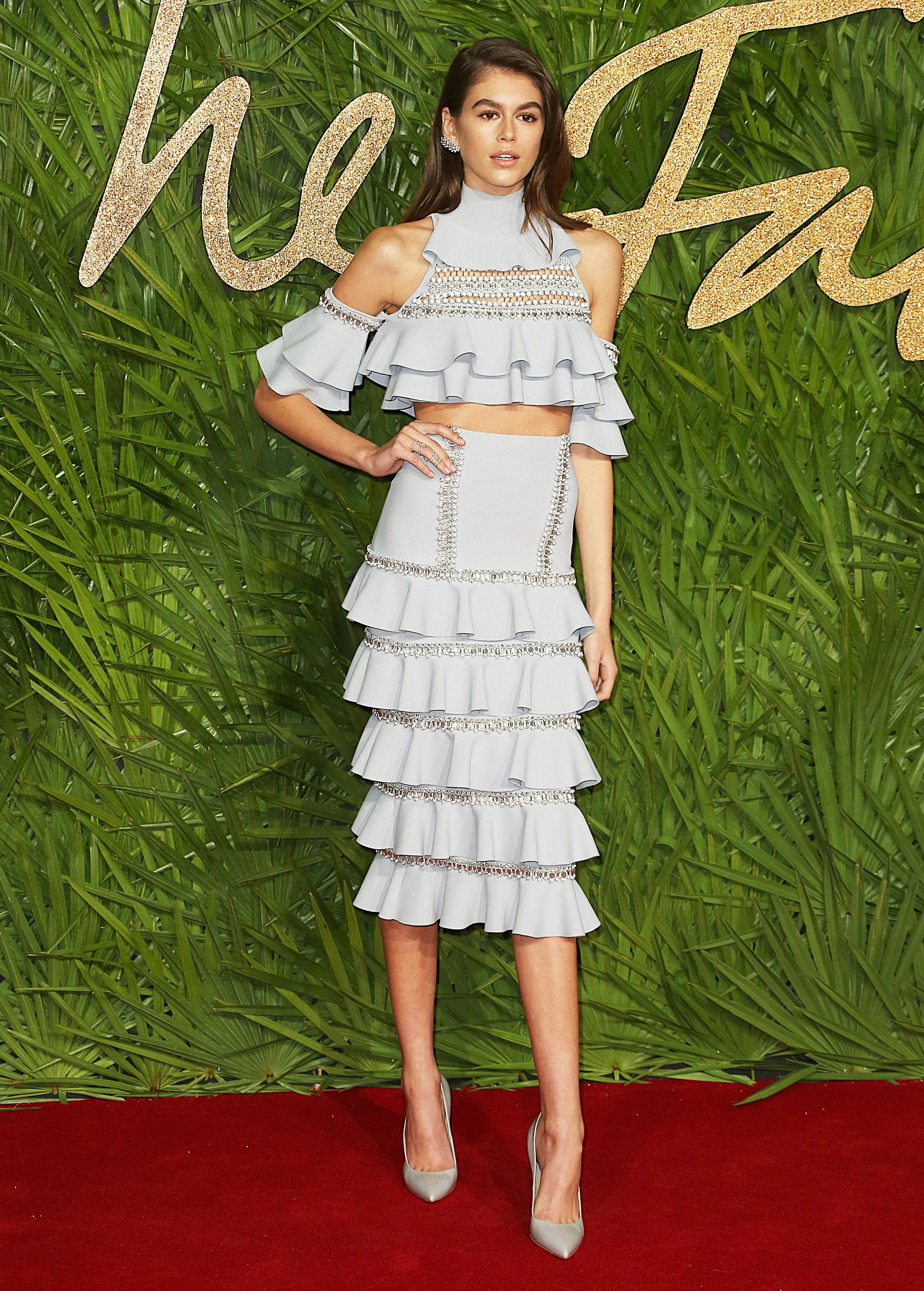 The Fashion Awards 2017, Royal Albert Hall, London UK, 04 December 2017, Photo by Brett D. Cove <P> Pictured: Kaia Jordan Gerber <B>Ref: SPL1633061  051217  </B><BR/> Picture by: Brett D. Cove / Splash News<BR/> </P><P> <B>Splash News and Pictures</B><BR/> Los Angeles:310-821-2666<BR/> New York:212-619-2666<BR/> London:870-934-2666<BR/> <span id=