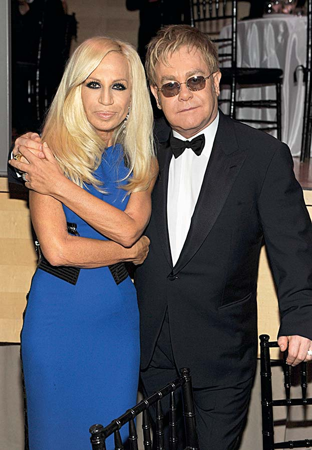 NEW YORK - MAY 04:  *Exclusive* Donatella Versace and Elton John attends Time's 100 most influential people in the world gala at Frederick P. Rose Hall, Jazz at Lincoln Center on May 4, 2010 in New York City.  (Photo by Kevin Mazur/Getty Images for Time Inc)