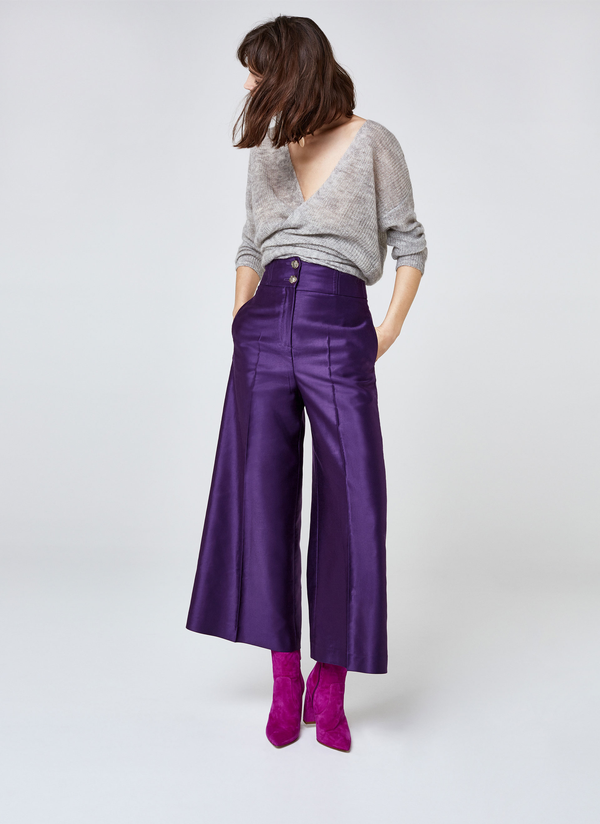 Široke hlače sa sjajem Uterqüe 950 kn