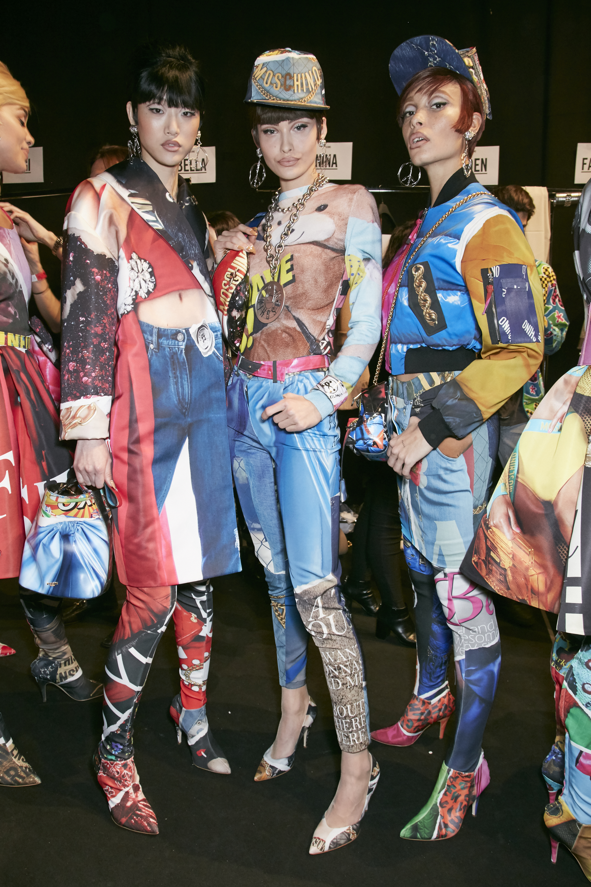 MILAN, ITALY - FEBRUARY 23: Models are seen backstage ahead of the Moschino show during Milan Fashion Week  Fall/Winter 2017/18 on February 23, 2017 in Milan, Italy. (Photo by Antonello Trio/Getty Images)