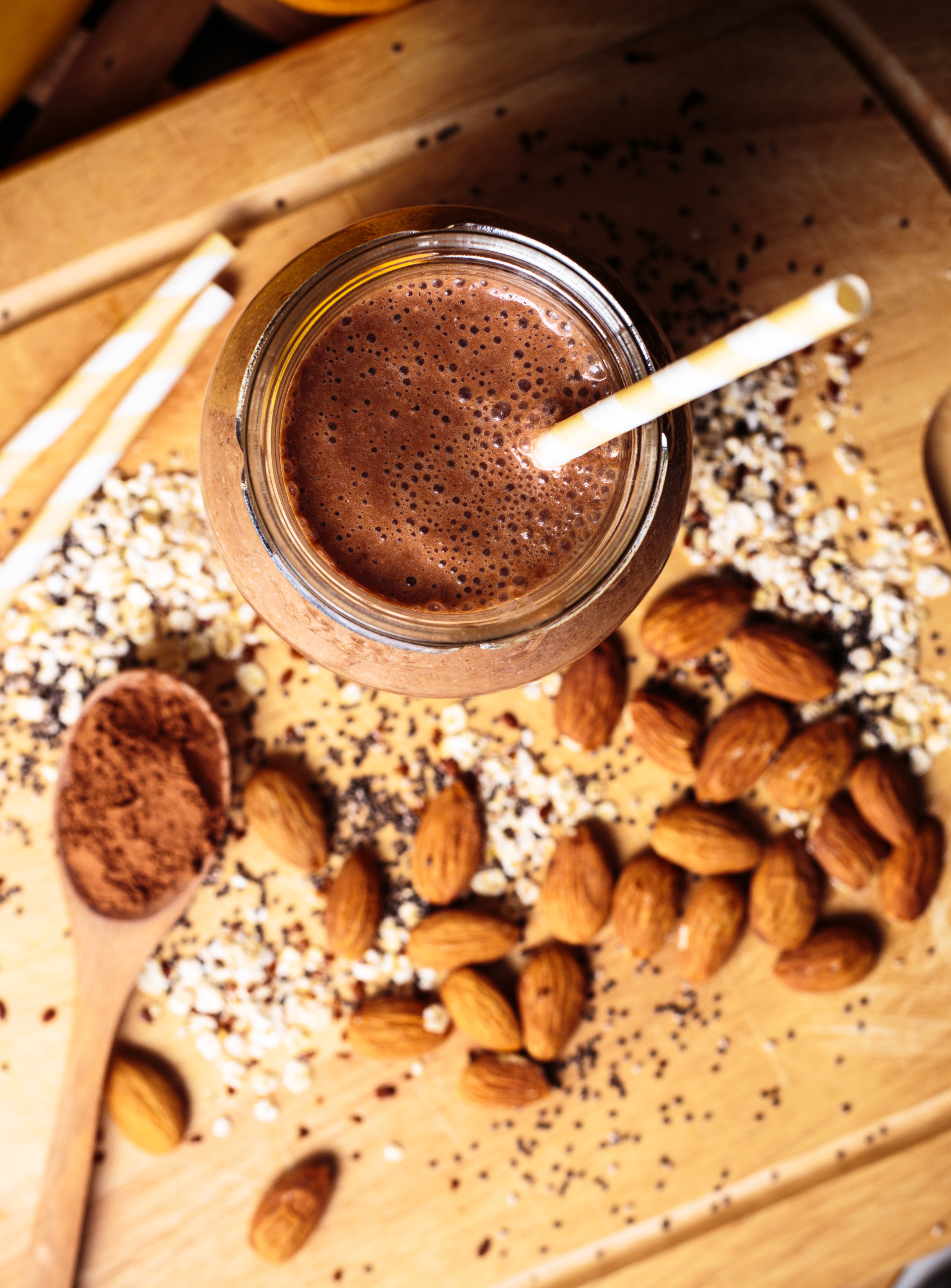 Chocolate smoothie made from cocoa, oats, almonds, almond milk, chia seeds