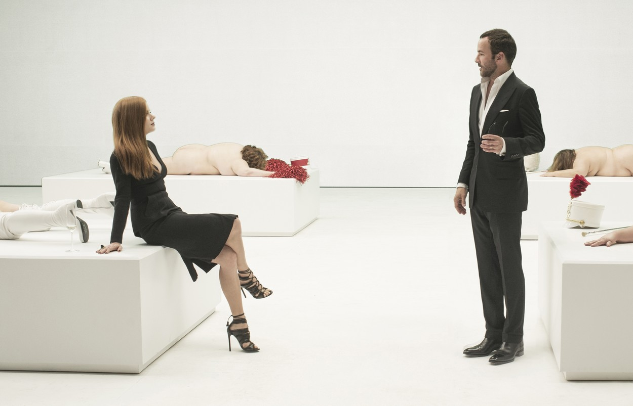 Amy Adams and Writer/director Tom Ford on the set of film NOCTURNAL ANIMALS : Movie directed by Tom Ford and Nicholas Aiello starring Amy Adams, Jake Gyllenhaal, Aaron Taylor-Johnson, Ellie Bamber; Michael Shannon; Drama; Drame; Thriller; movie; film; cinema; american; americain; Focus Features; Universal Pictures; 2017; On set; behind the scene; tournage film; tournage NOTE: ACCESS RIGHTS ONLY This is a publicly distributed handout SunsetBox provides access rights only and does not license the copyright in the image This is a PR photo Sunsetbox does not claim any Copyright or License in the attached material Fees charged by Sunsetbox are for Sunsetbox's services only, and do not, nor are they intended to, convey to the user any ownership of Copyright or License in the material By publishing this material, the user expressly agrees to indemnify and to hold Sunsetbox harmless from any claims, demands, or causes of action arising out of or connected in any way with user's publication of the material, Image: 309828690, License: Rights-managed, Restrictions: , Model Release: no, Credit line: Profimedia, Allpix Press