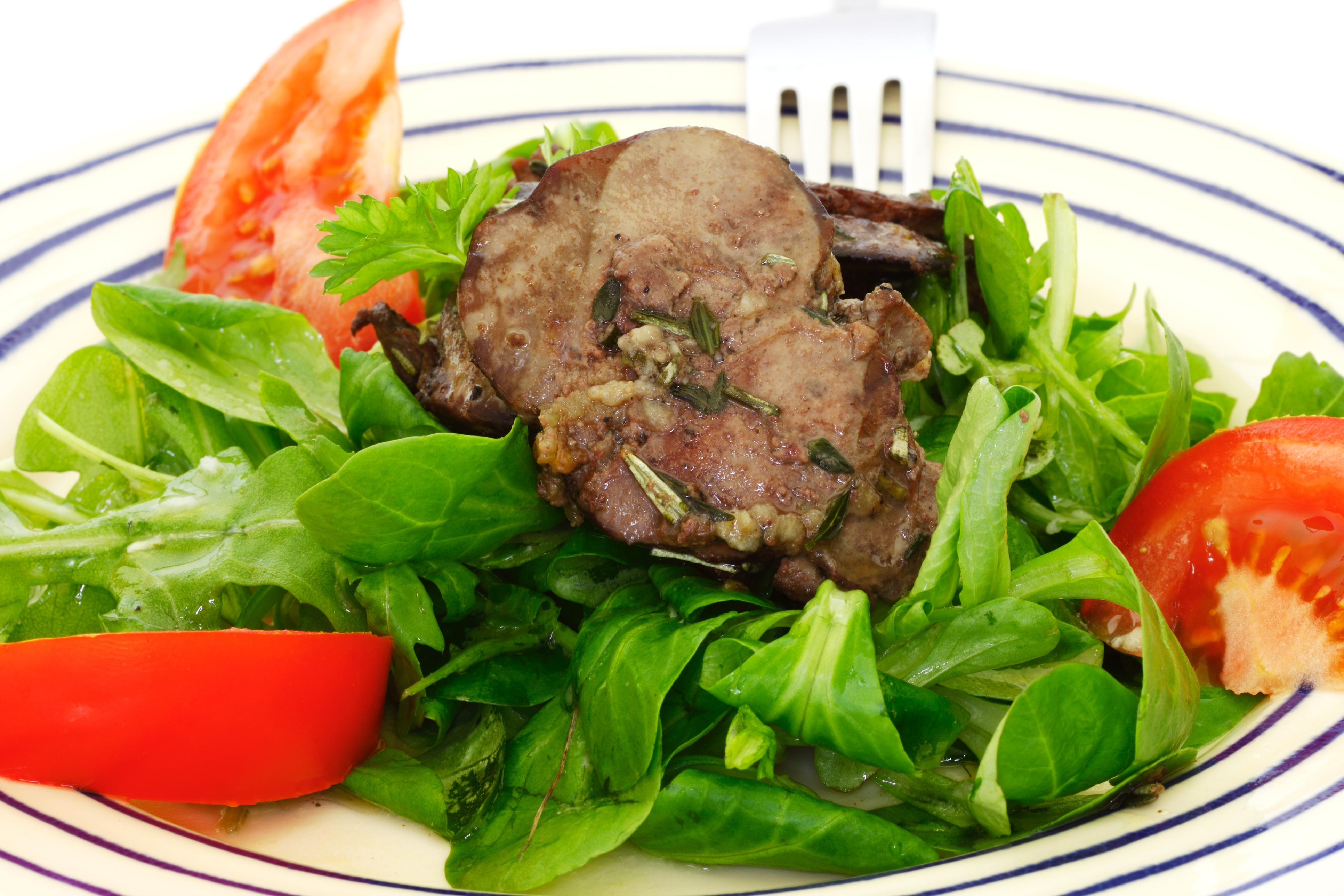 Chicken liver salad.