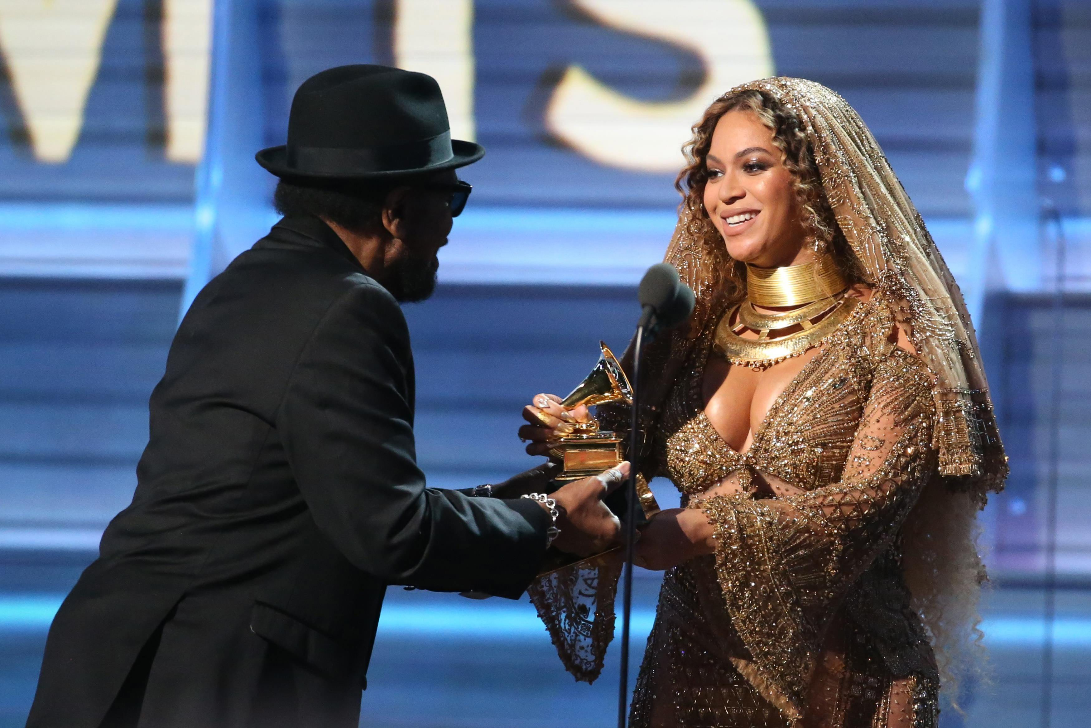 Beyonce accepts the Grammy for Best Urban Contemporary Album for