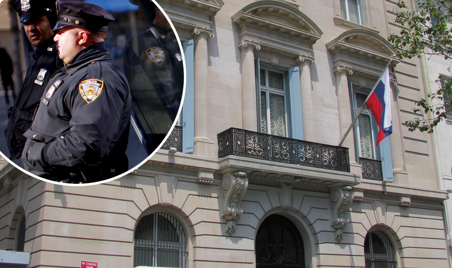 Zgrada ruskog konzulata u New Yorku i njujorška policija u krugu
